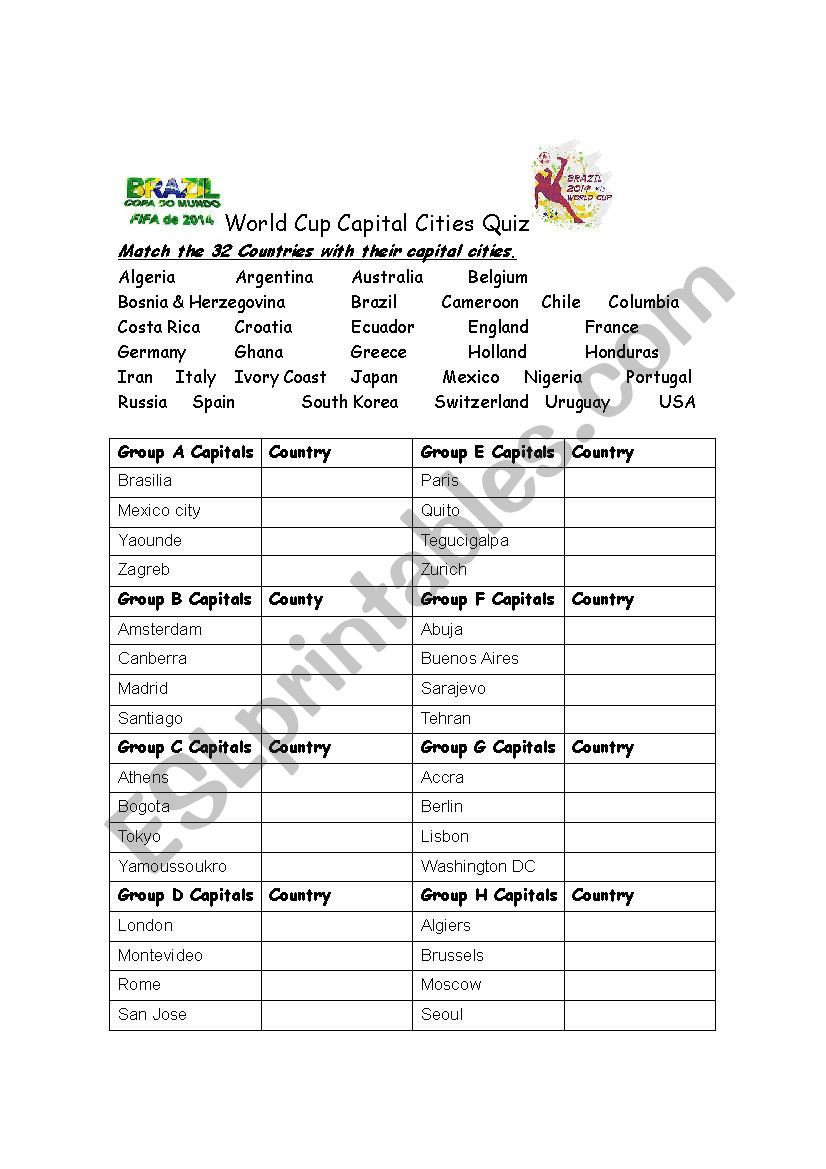 Printable States and Capitals Quiz Capital Cities Quiz Search