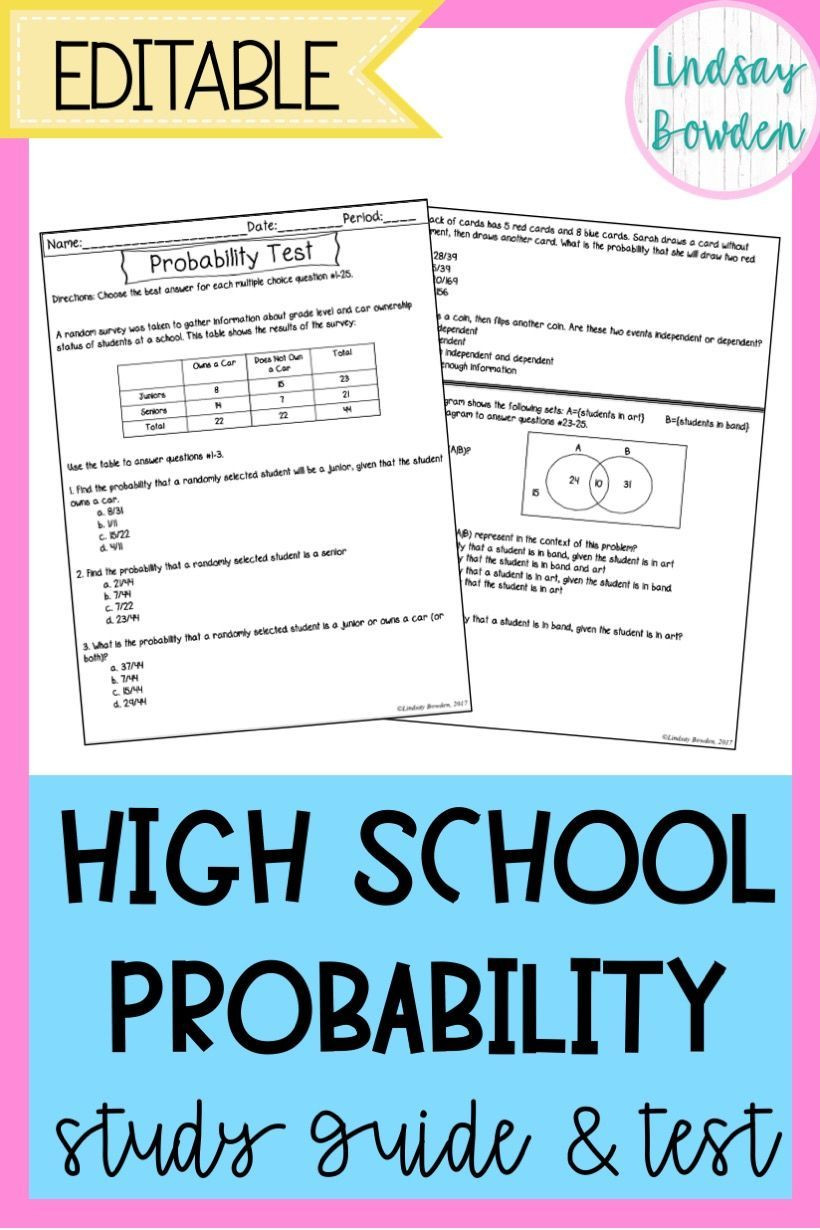 Probability Worksheets High School Pdf Probability Test with Study Guide