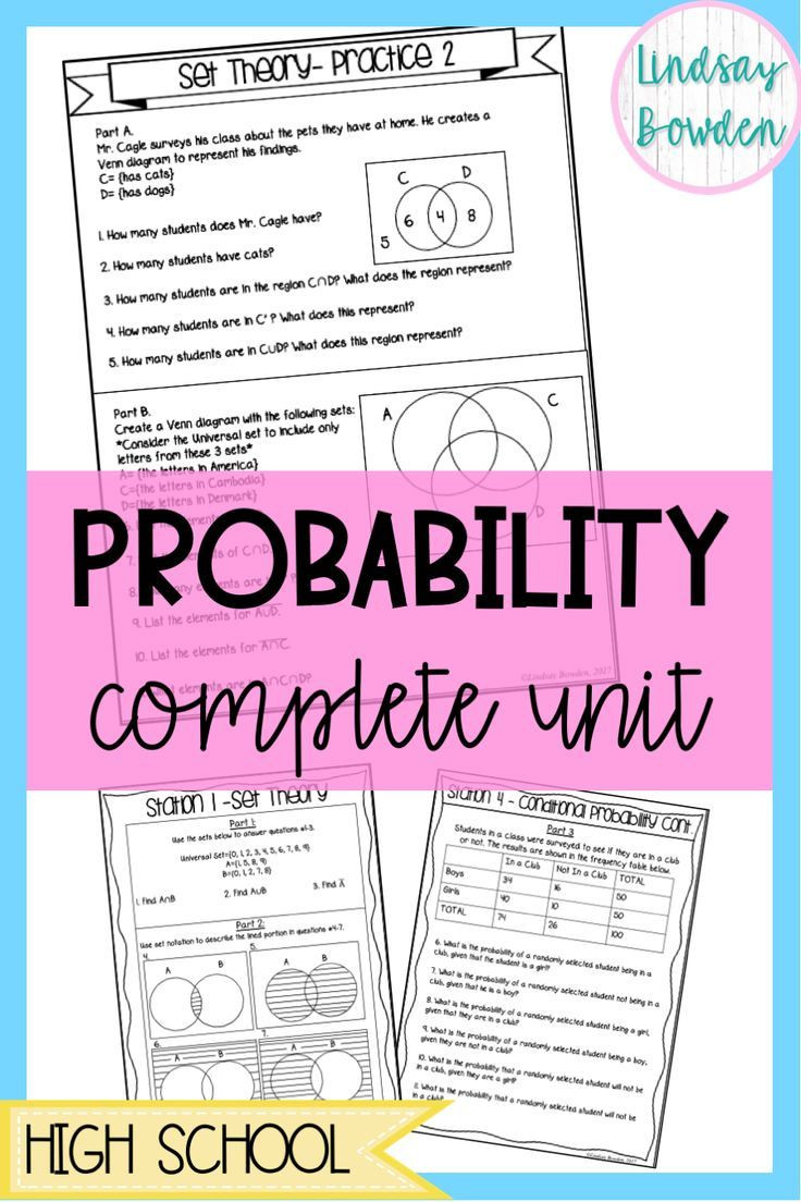 Probability Worksheets High School Pdf Probability Unit Bundle