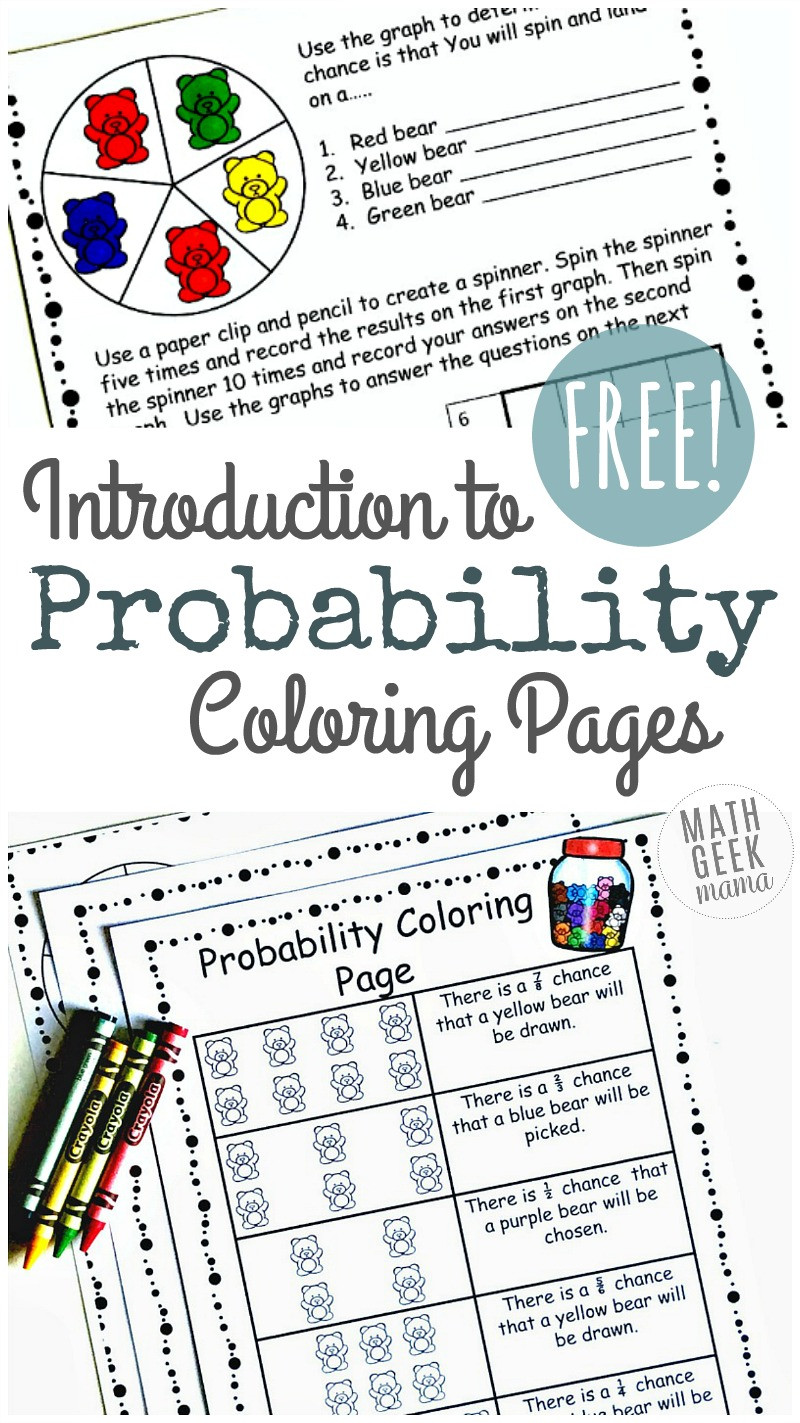 Probability Worksheets High School Pdf Simple Coloring Probability Worksheets for Grades 4 6 Free