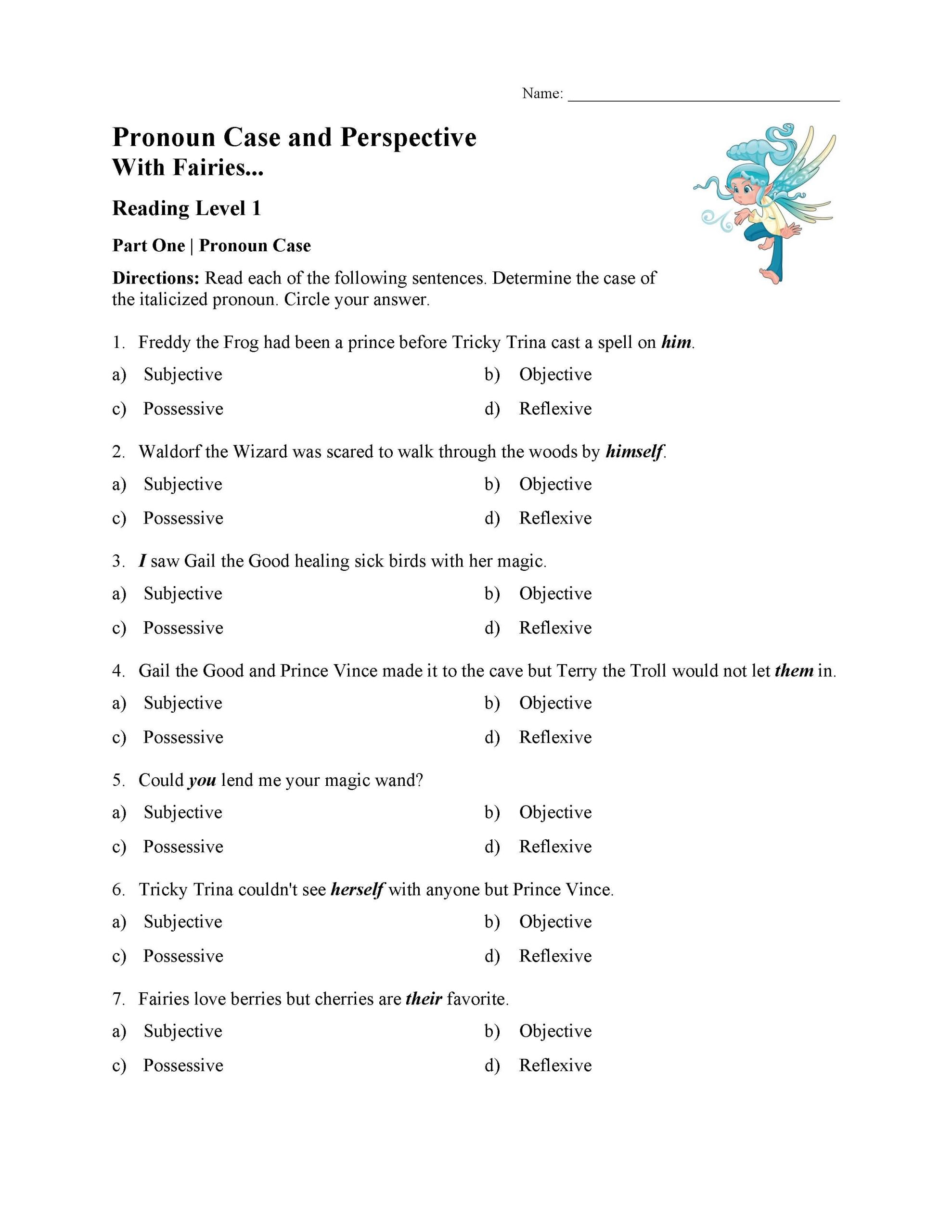 Pronoun Worksheets 5th Grade Pronoun Case and Perspective Test with Fairies