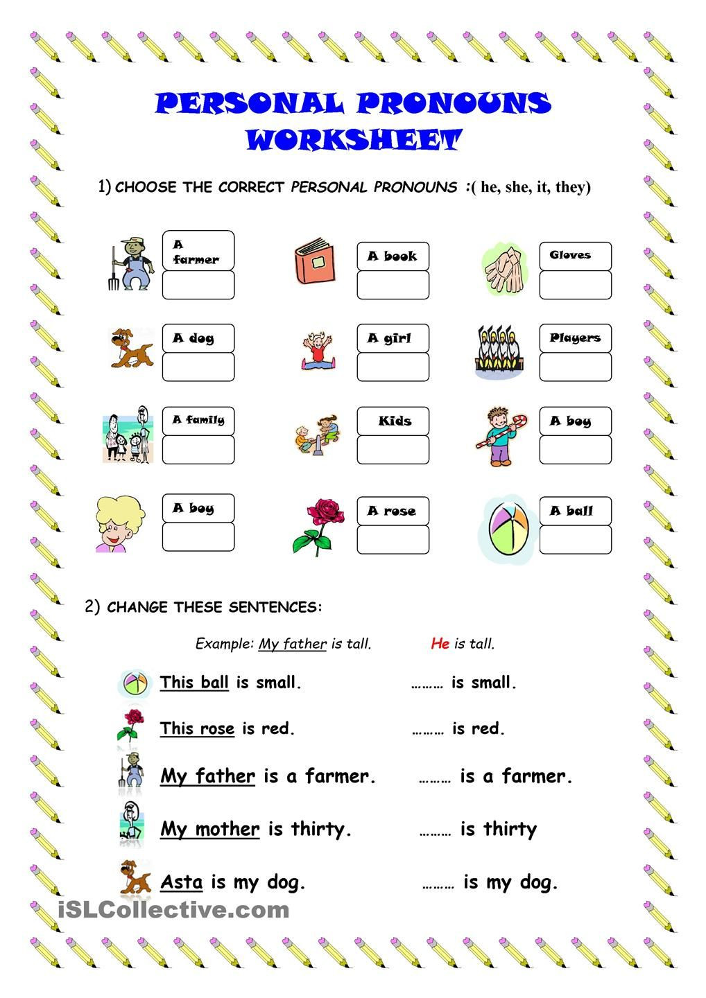 Pronoun Worksheets Second Grade Personal Pronouns Worksheet