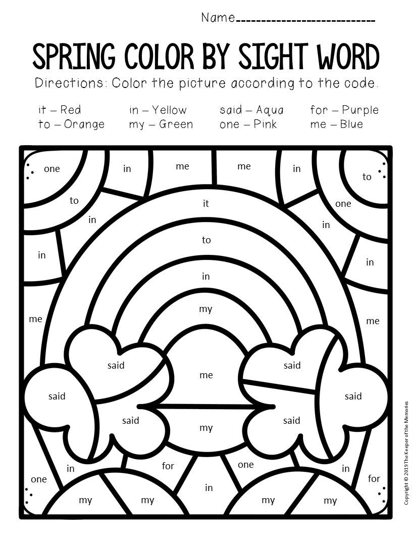 Rainbow Worksheets Preschool Color by Sight Word Spring Preschool Worksheets Rainbow
