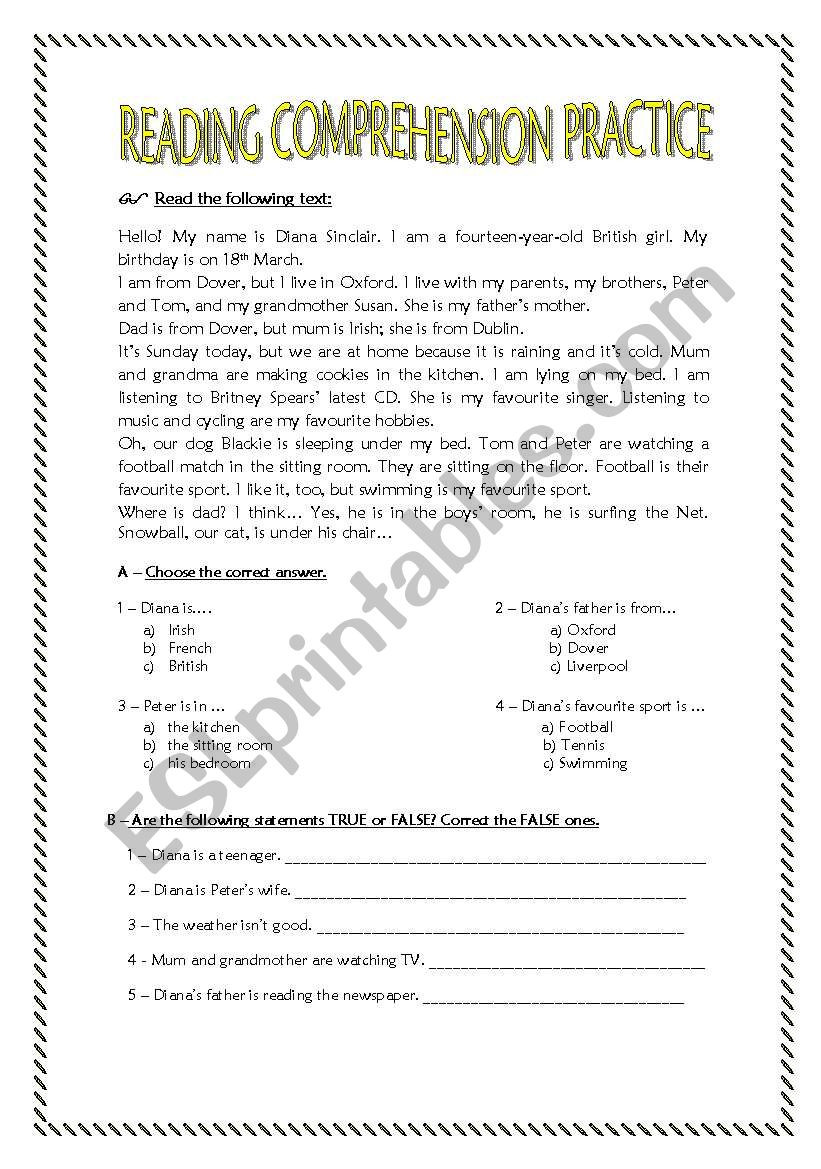 Reading Comprehension 7th Grade Worksheet Reading Prehension Practice for 7th Graders Esl