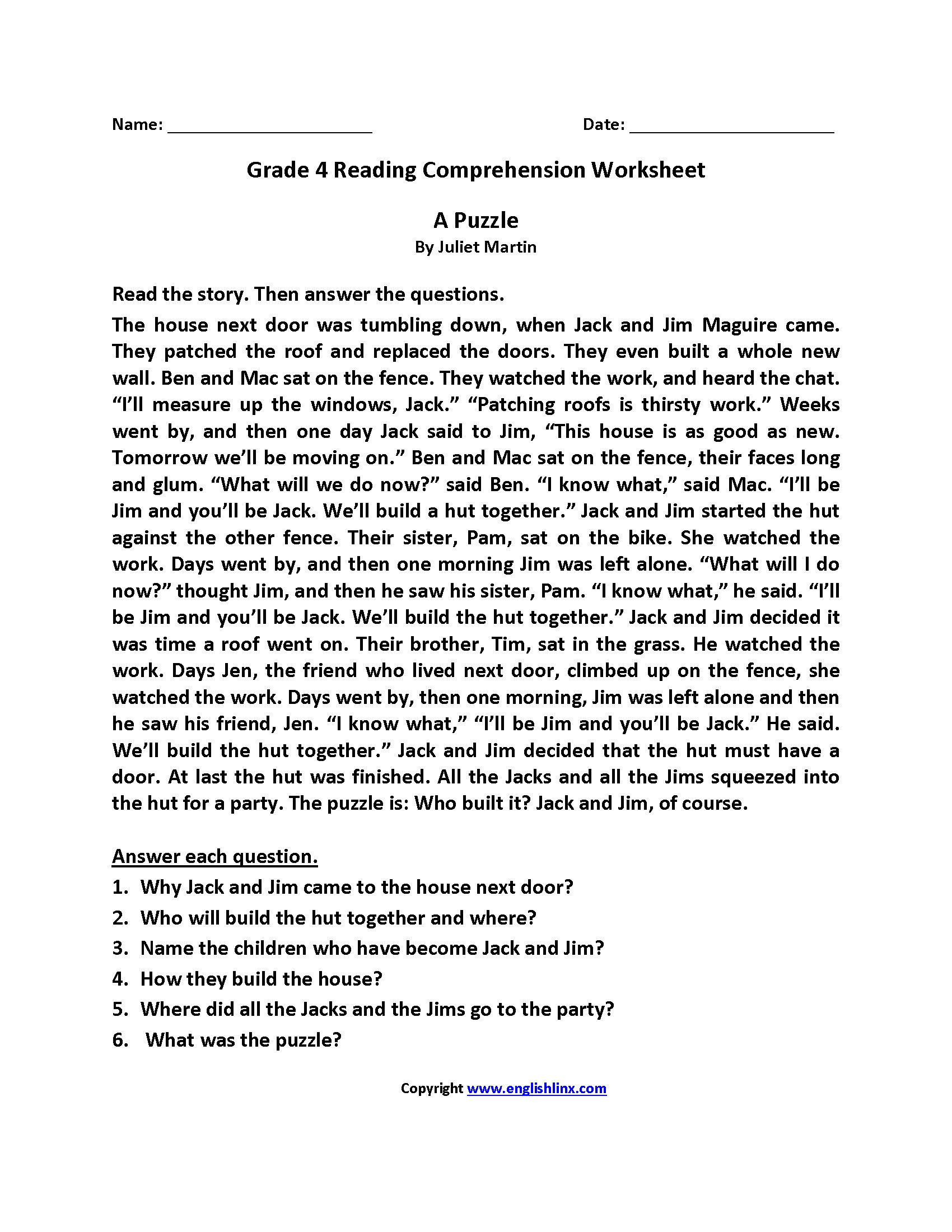 Reading Worksheets Grade 5 4th Grade Reading Prehension Worksheets Thanksgiving
