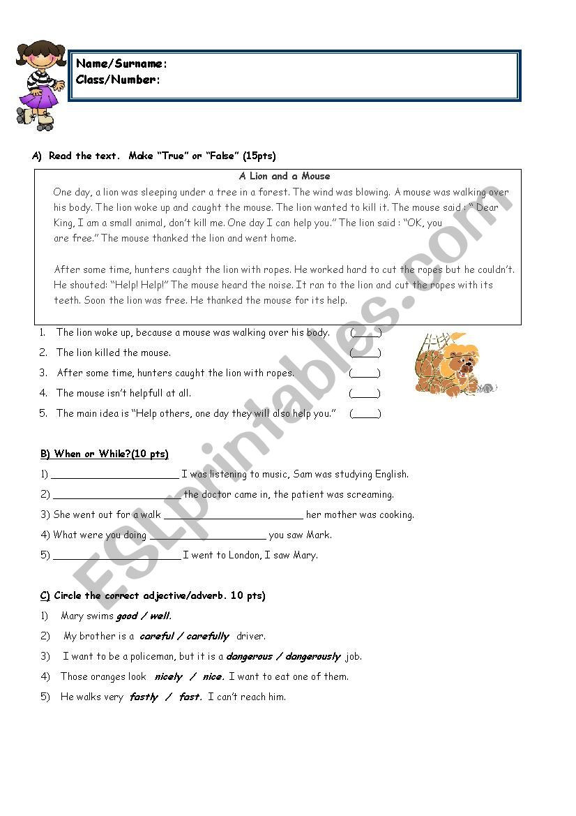 Reading Worksheets Grade 5 8th Grade with Reading Esl Worksheet by Sukrupasa
