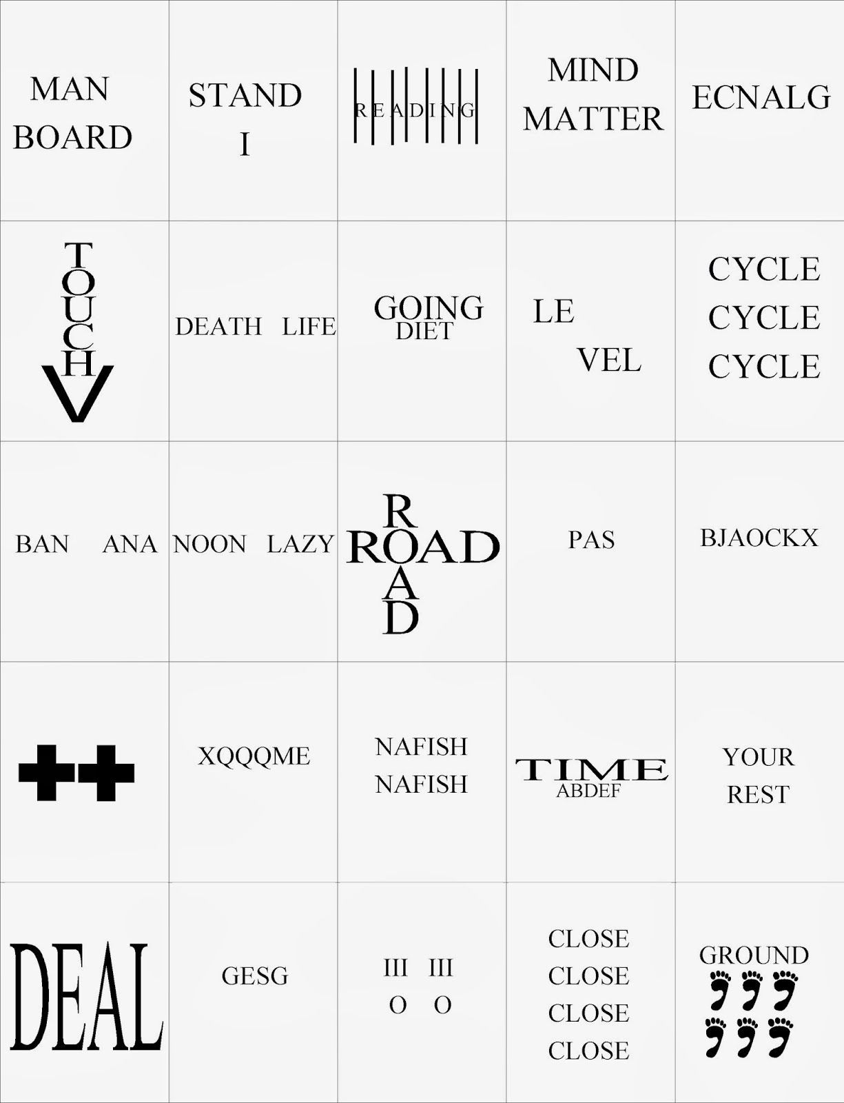 Rebus Puzzles for Adults Printable Rebus Brain Teasers Worksheets