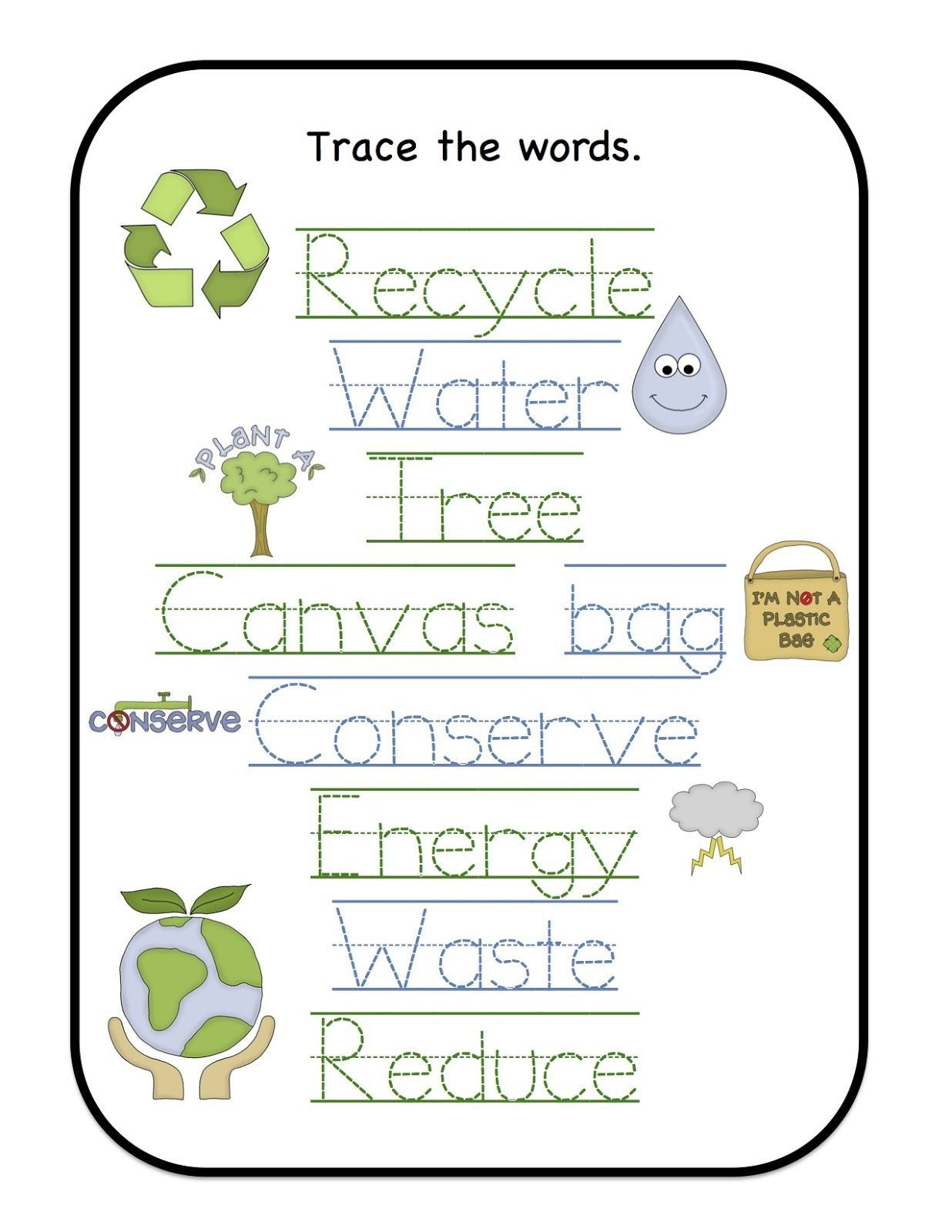 Recycle Worksheets for Preschoolers Earth Day Printables