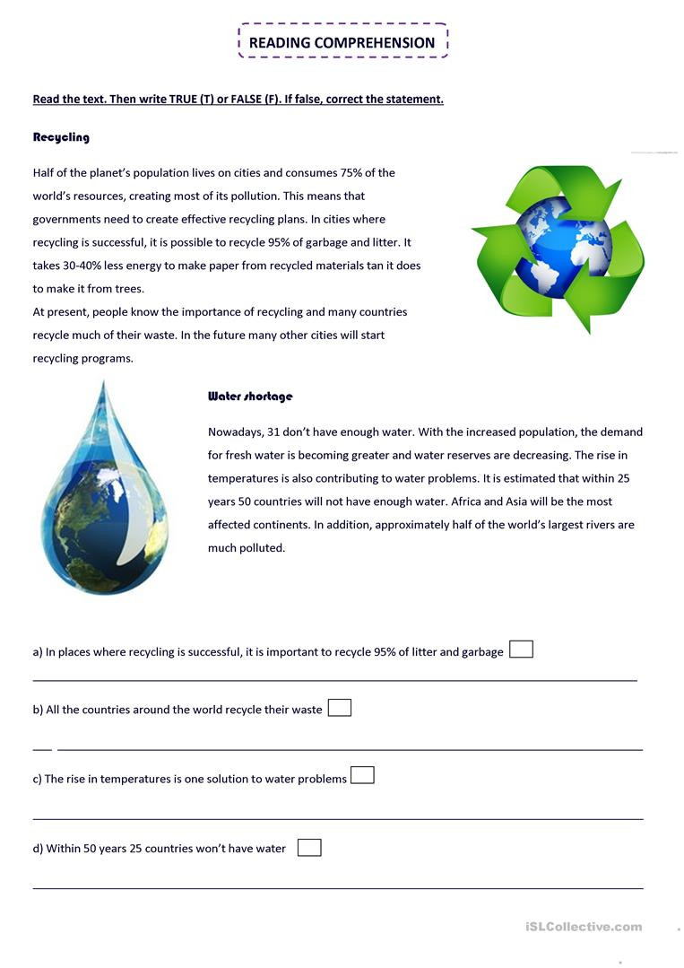Recycling Worksheets for Middle School English Esl Recycling Worksheets Most Ed 34 Results