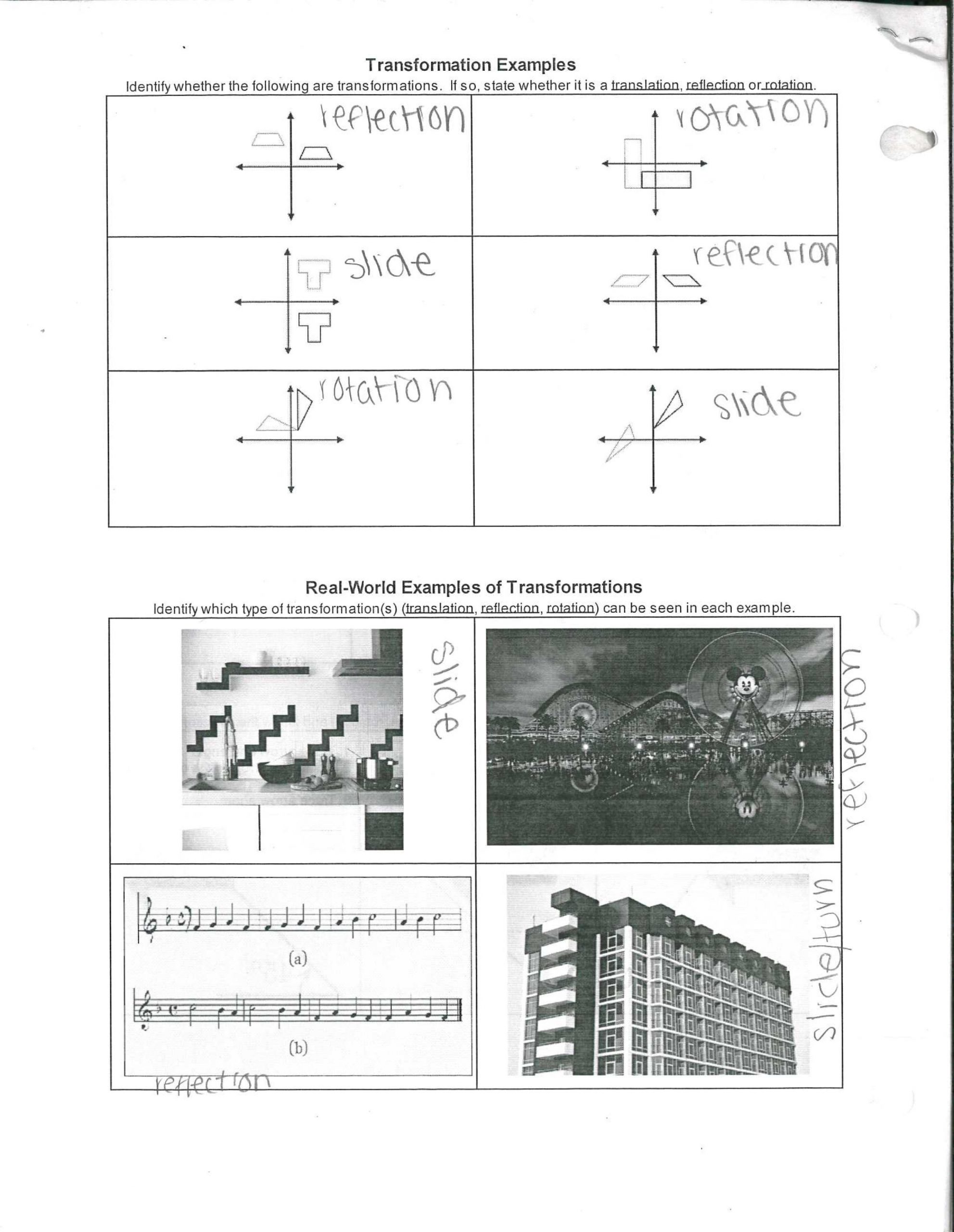 Reflection Math Worksheets 4c S Reflection