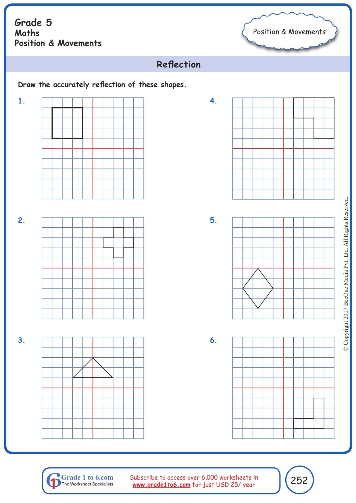 Reflection Math Worksheets Free Math Worksheets for Grade 1 Through Grade 6 Subscribe