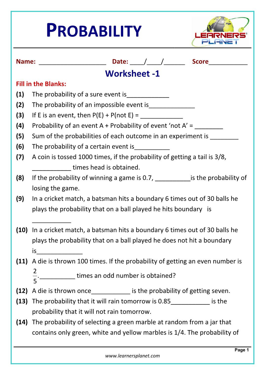 Reflection Math Worksheets Printable Probability Worksheets Math Grade with Answers