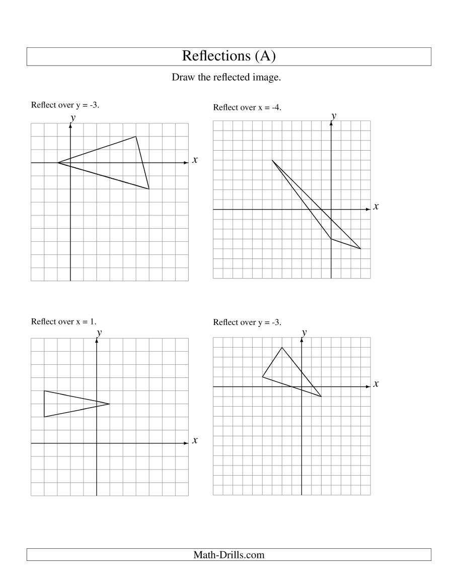 Reflection Math Worksheets Reflection Of 3 Vertices Over Various Lines A