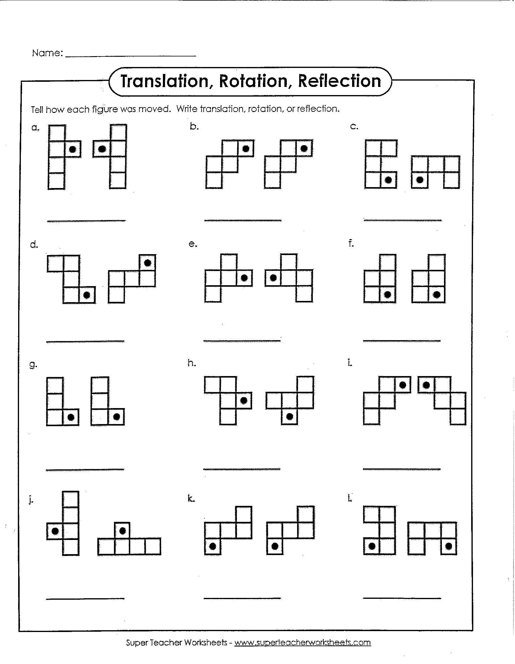 Reflection Math Worksheets Translation Rotation or Reflection – Math