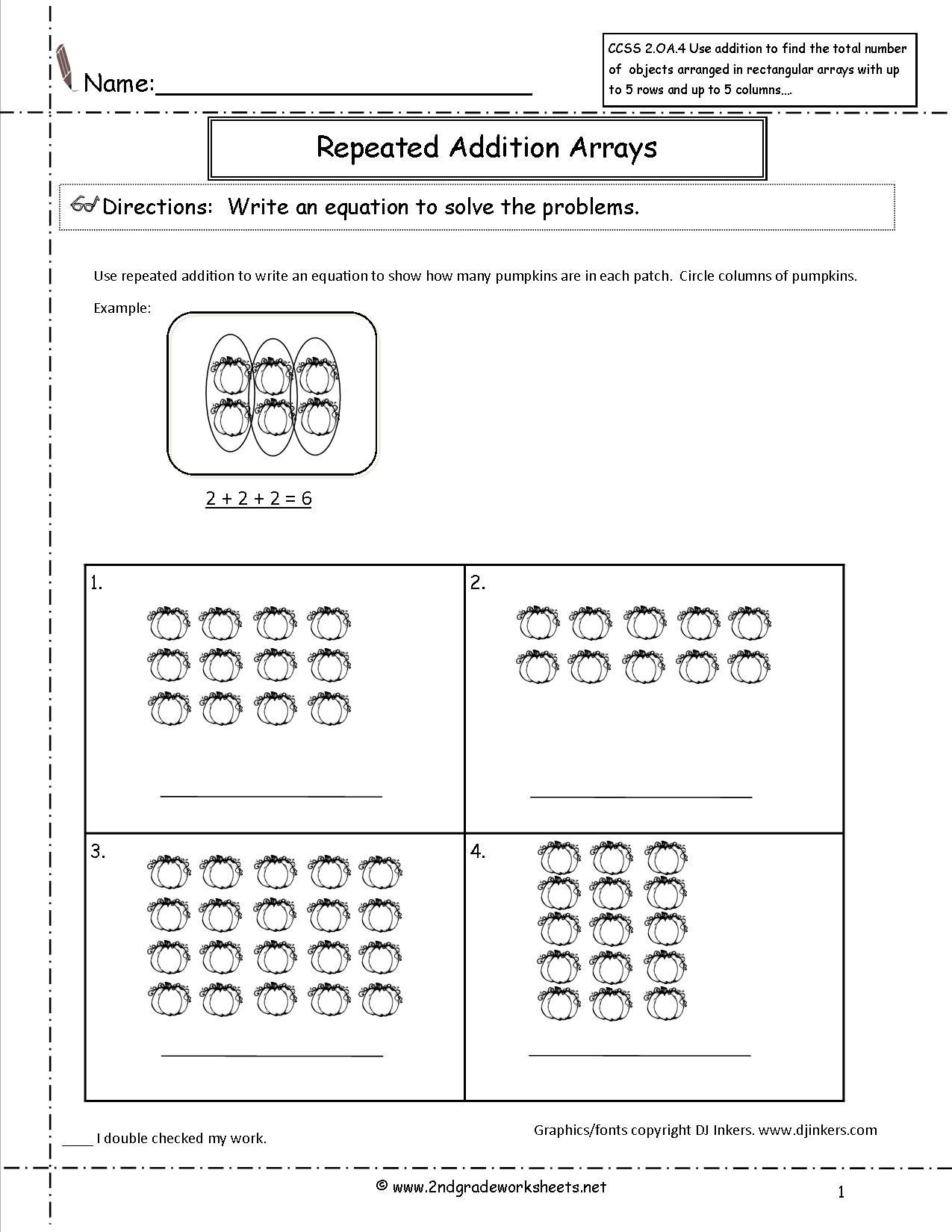 Repeated Addition Worksheets 2nd Grade Pumpkins Repeated Addition Worksheet