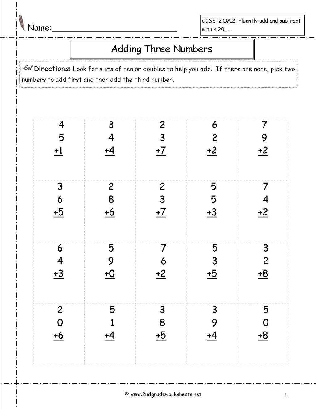 Repeated Addition Worksheets 2nd Grade Worksheet Worksheet Addition 2ndde Addingthreenumbers Free
