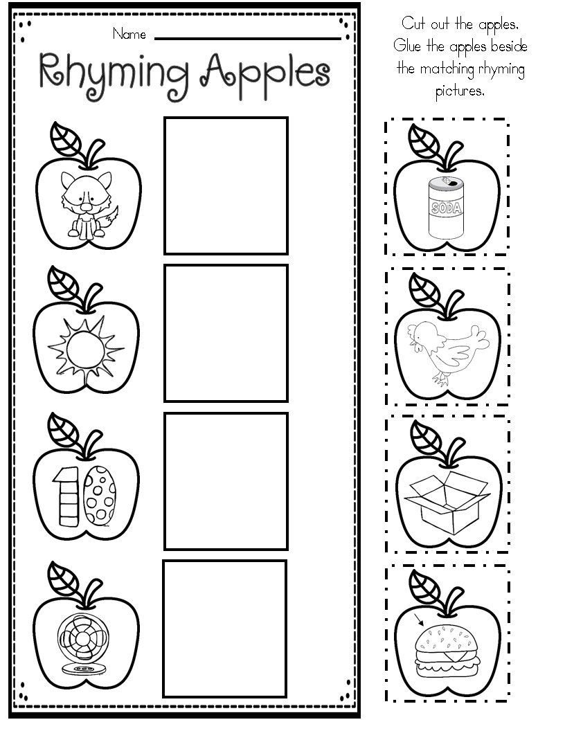 Rhyming Worksheets for Preschool Apple themed Math and Literacy Printables for Young Learners