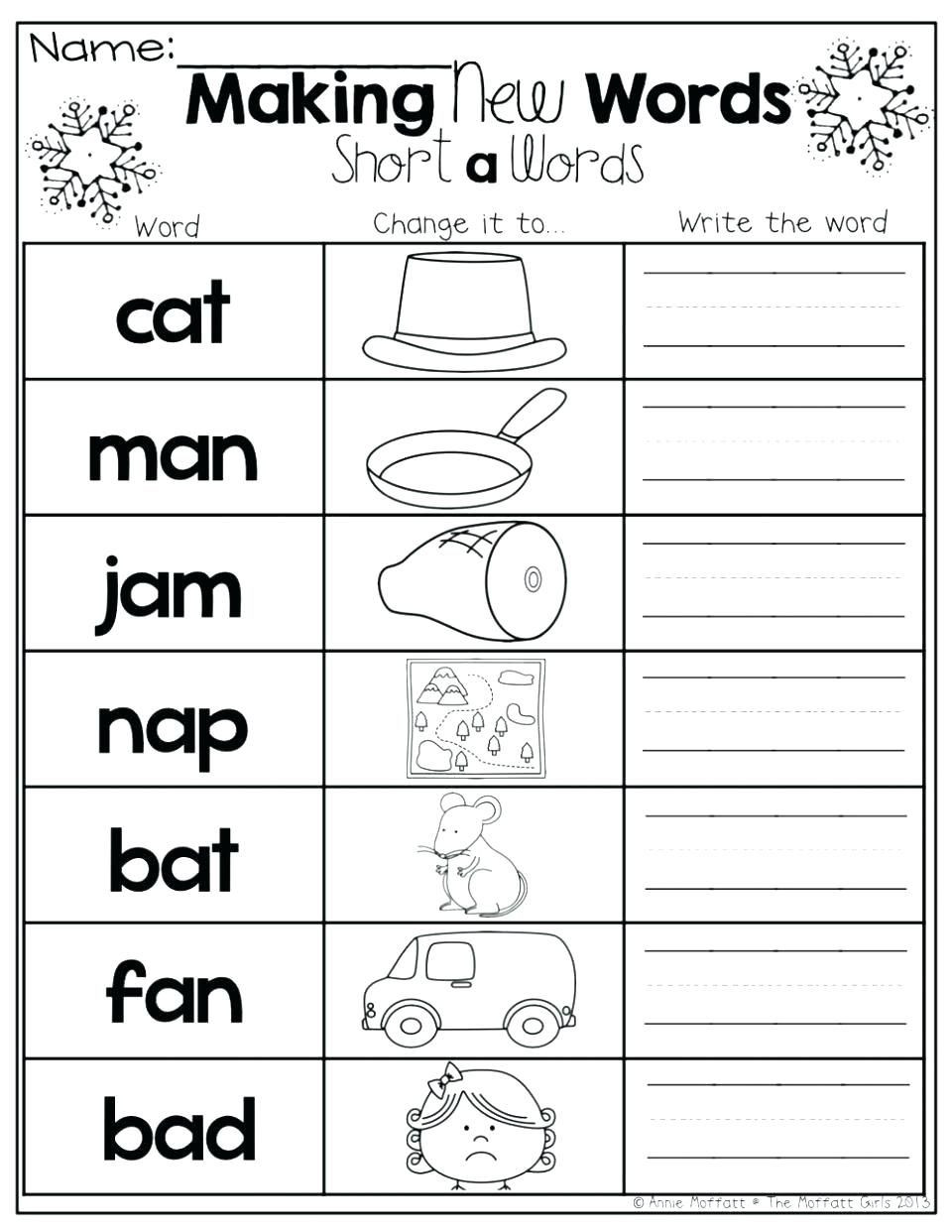 Rhyming Worksheets for Preschool Free Short A Worksheets Activities Free Preschool