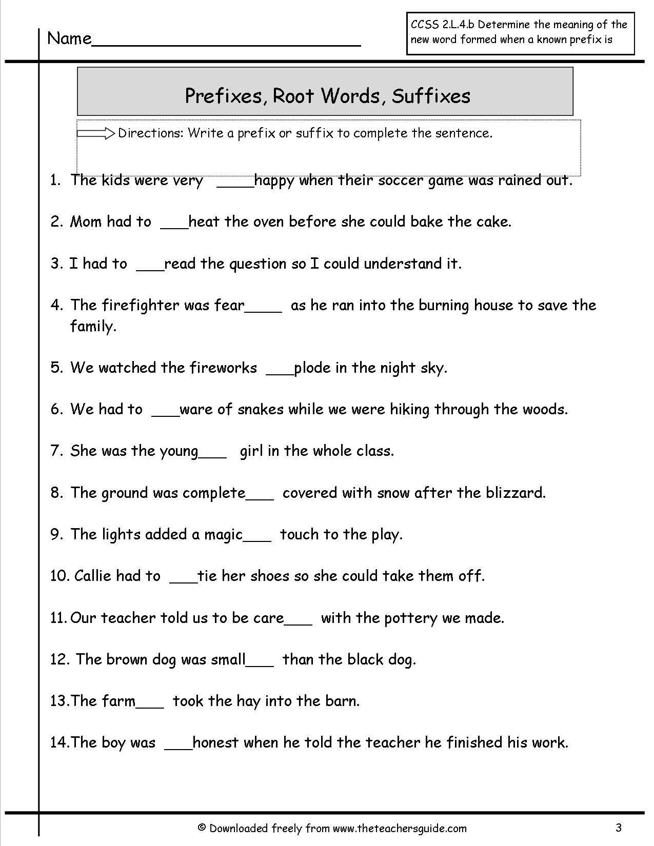 Root Words Worksheets 4th Grade Prefixes Suffixes Worksheet