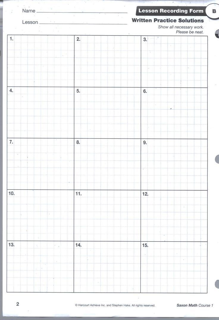 Saxon Math 6th Grade Worksheets Saxon Math Homework Sheets