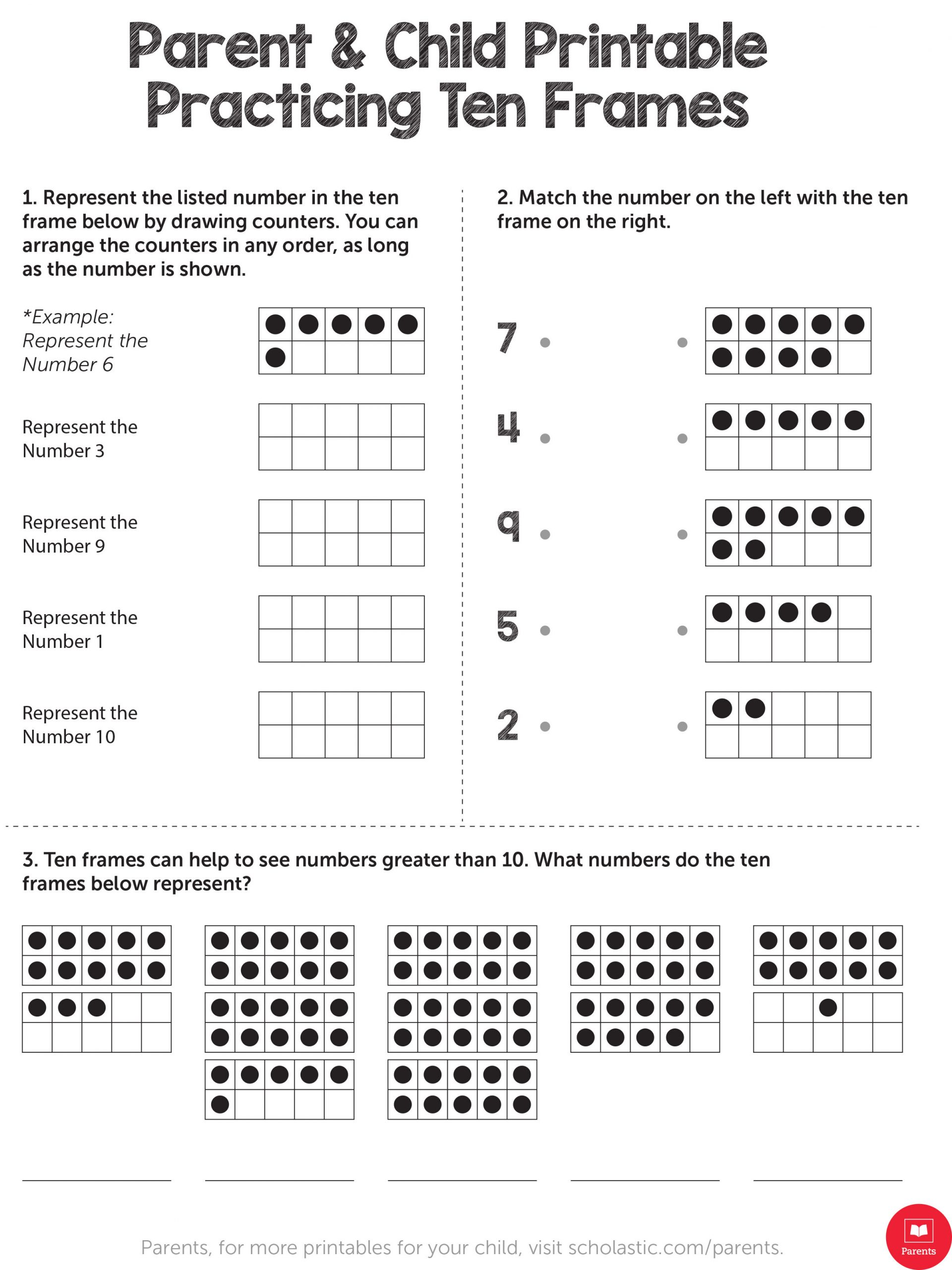 Scholastic Math Worksheets Learn Your Child S Math with This Ten Frame Printable