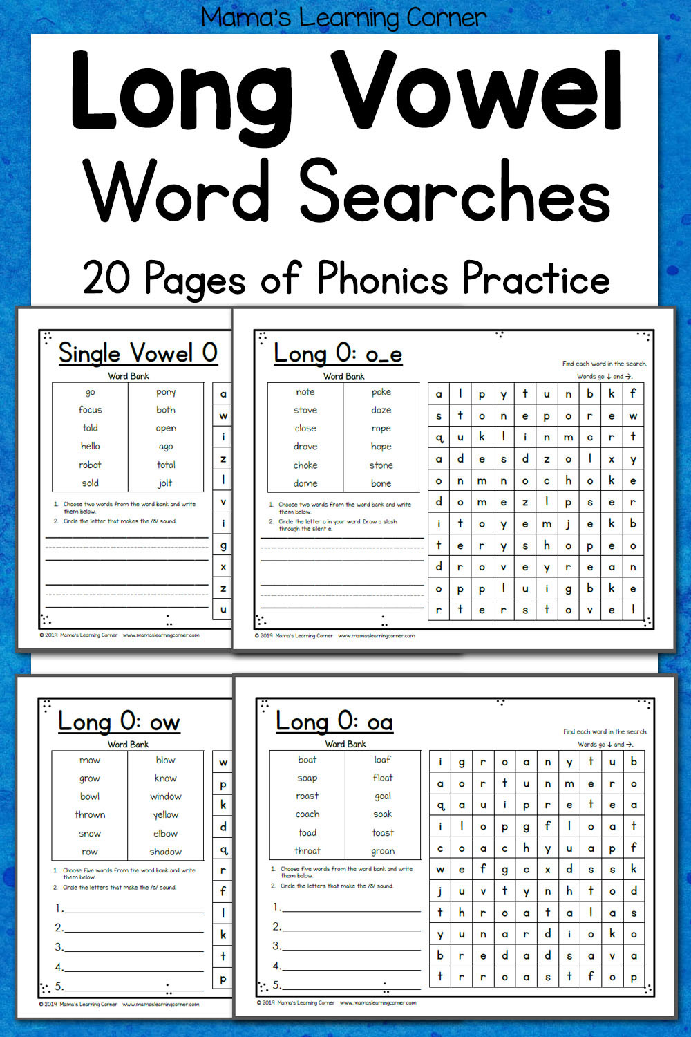 Schwa sound Worksheets Grade 2 Long Vowel Word Search Puzzles Mamas Learning Corner