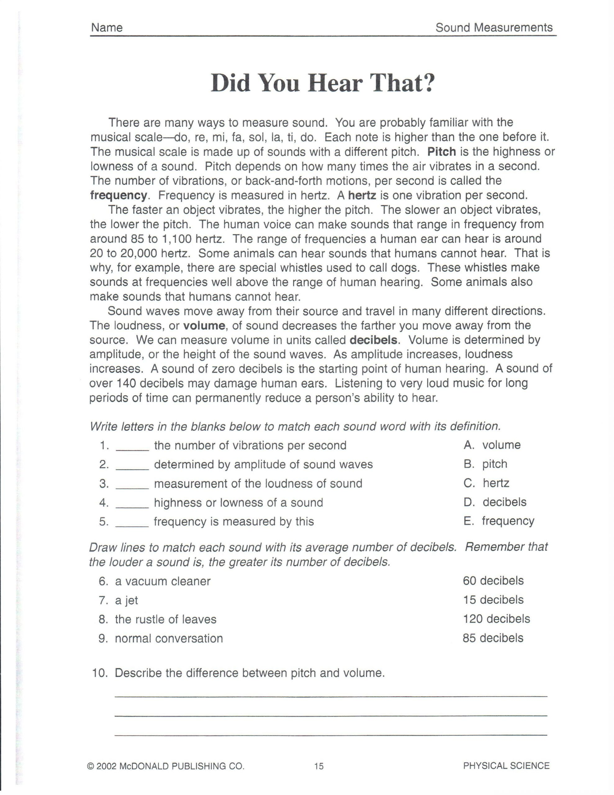 Science Worksheets for 8th Grade Physical Science Did You Hear that 101roxm 2 550—3 300