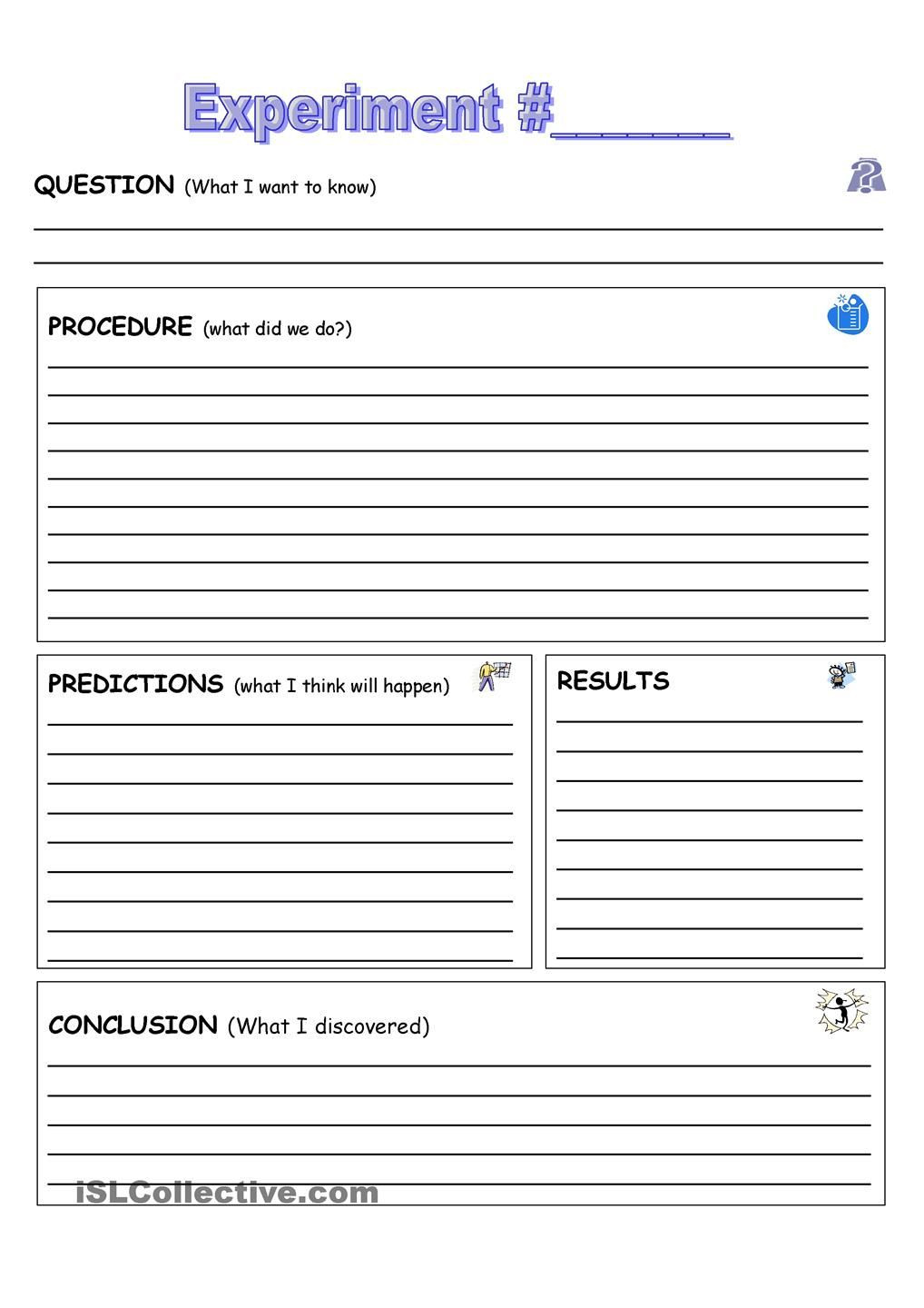 Scientific Method Worksheets 5th Grade Experiment Record Sheet