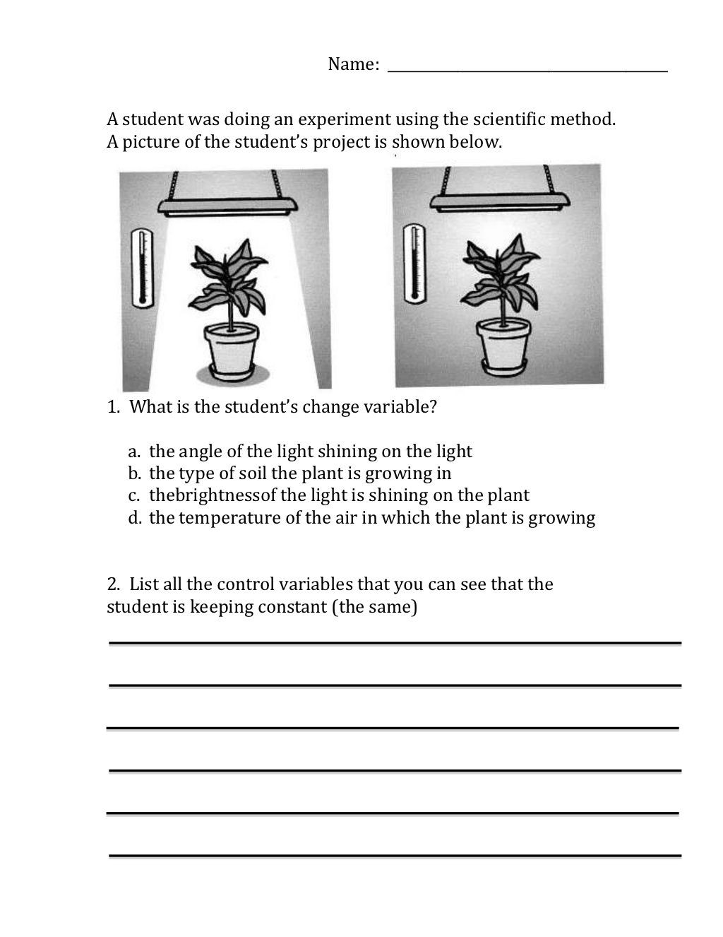 Scientific Method Worksheets 5th Grade Scientific Method Variables Worksheet by Moira Whitehouse