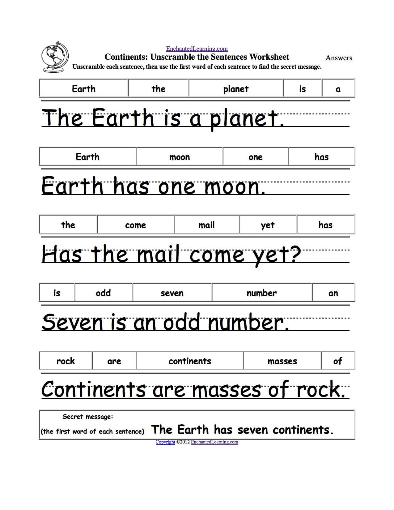 Scrambled Sentences Worksheets 2nd Grade Sentence Unscramble Worksheets Printable