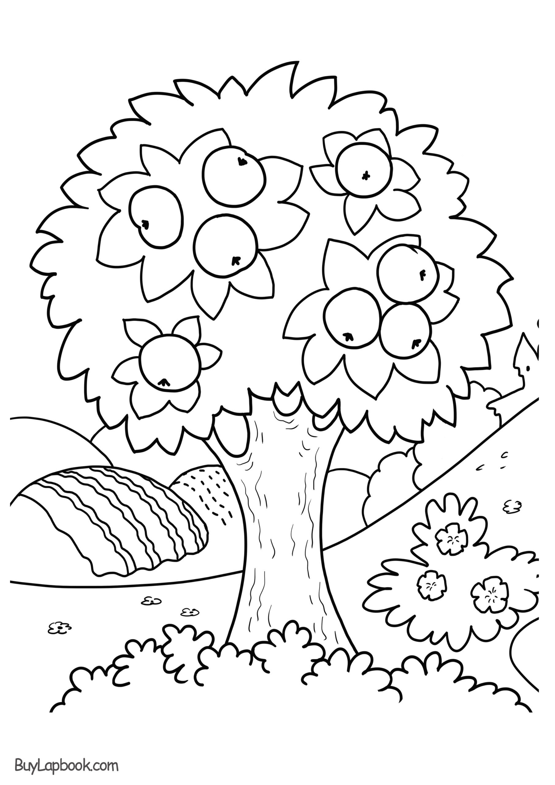 Seasons Worksheets for Preschoolers Coloring Apple Tree Free Printable Buylapbook Preschool
