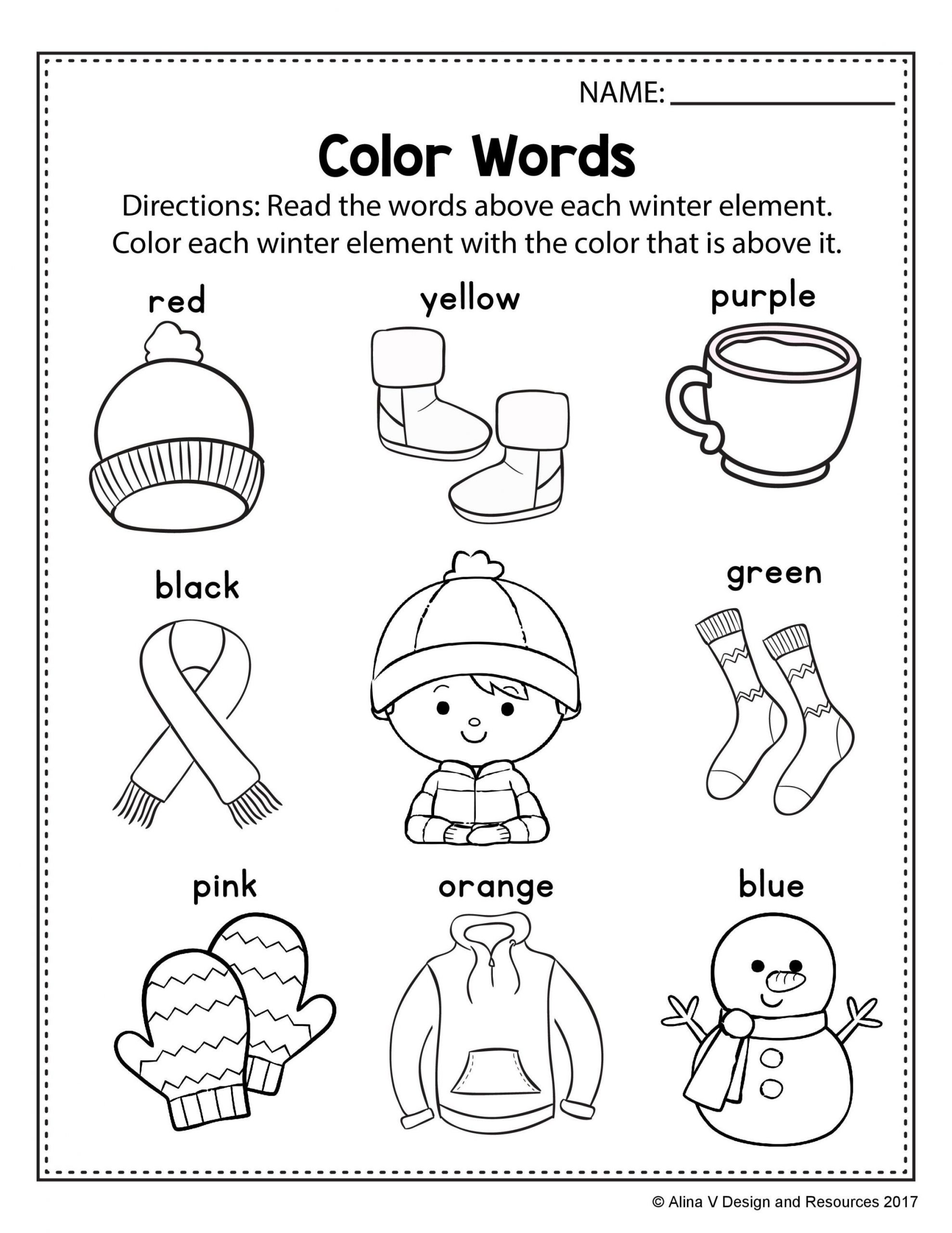 Seasons Worksheets for Preschoolers Free Winter Literacy Worksheet for Kindergarten No Prep