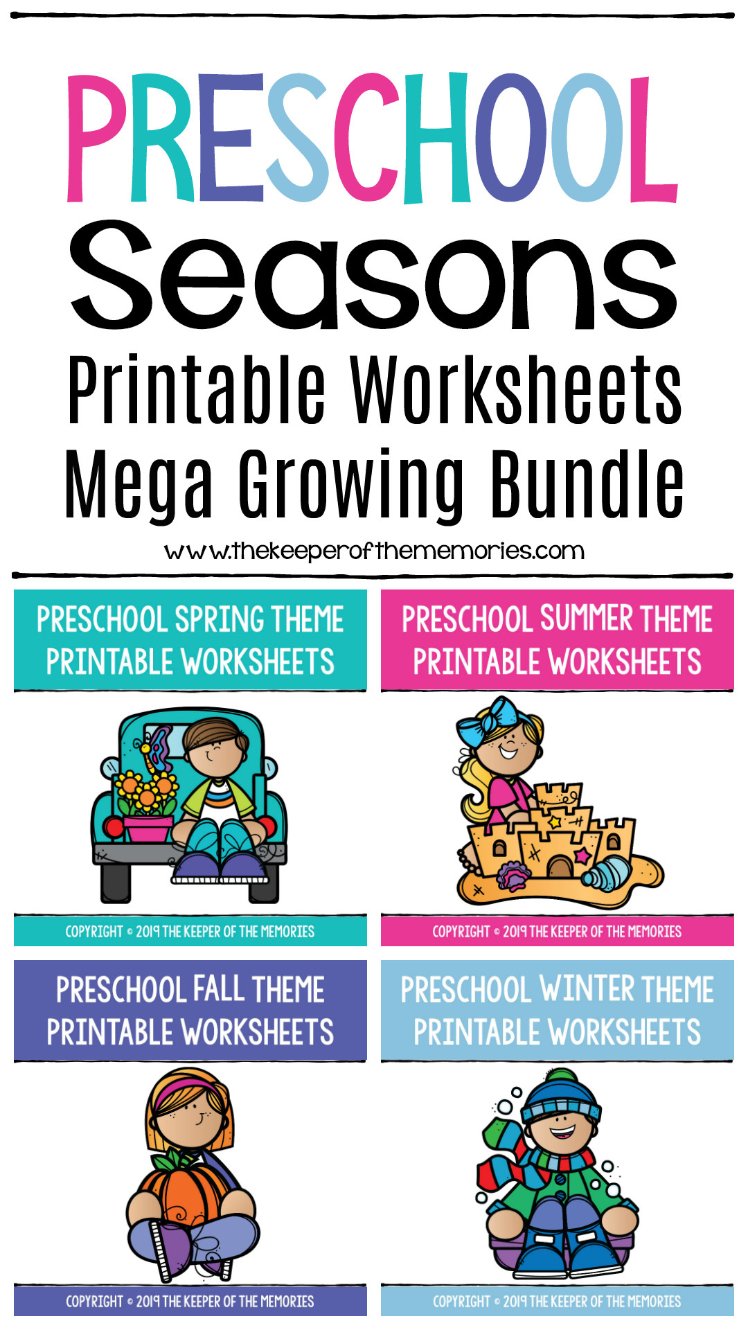 Seasons Worksheets for Preschoolers Preschool Seasons Printable Worksheets Mega Bundle the