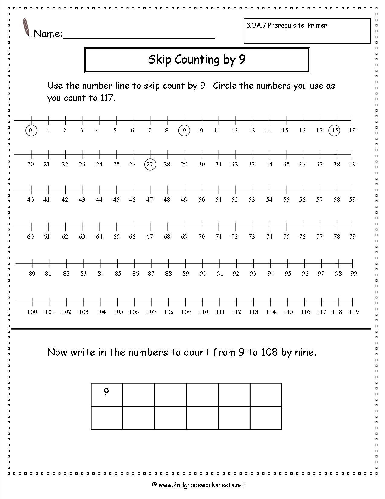 Second Grade Number Line Worksheets Free Skip Counting Worksheets Multiple Styles All Single