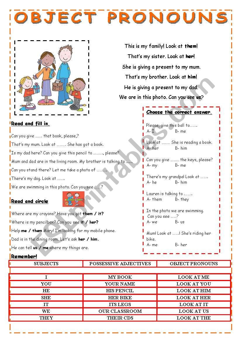 Second Grade Pronoun Worksheets Object Pronouns Esl Worksheet by Pauguzman Worksheets Free