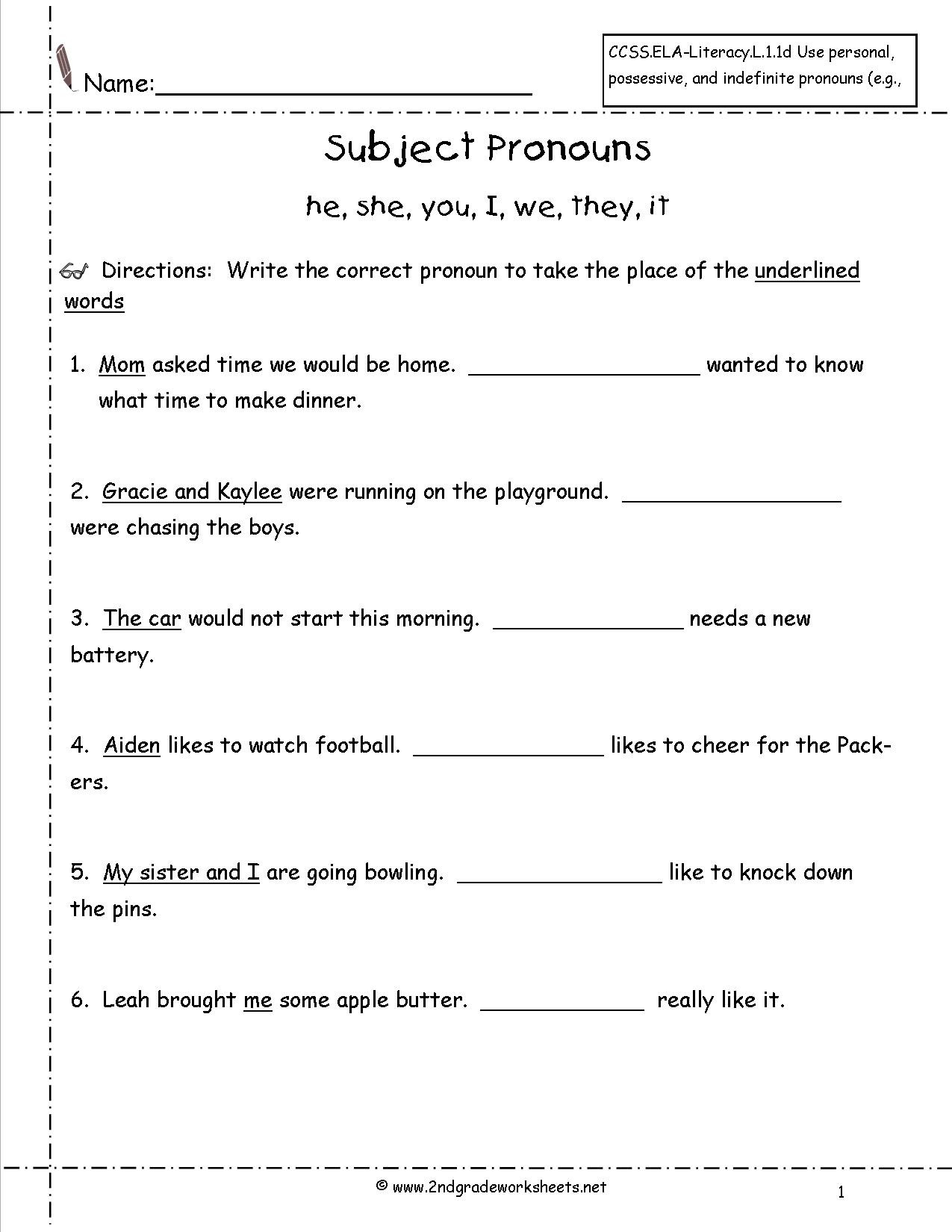 Second Grade Pronouns Worksheet Subject Pronouns Worksheets Kindergarten
