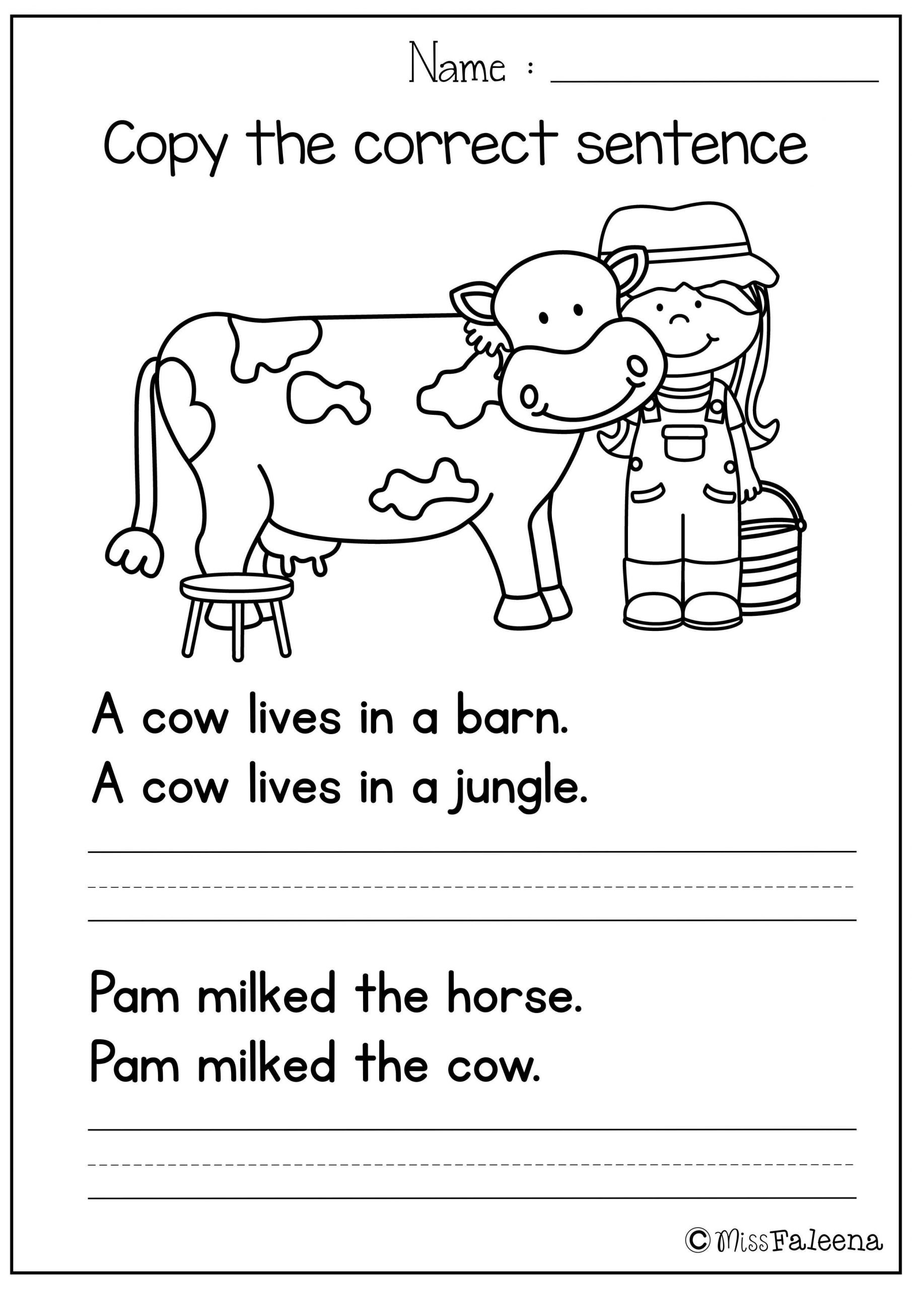 Sentence Worksheets First Grade Free Sentence Writing Copy the Correct Sentence