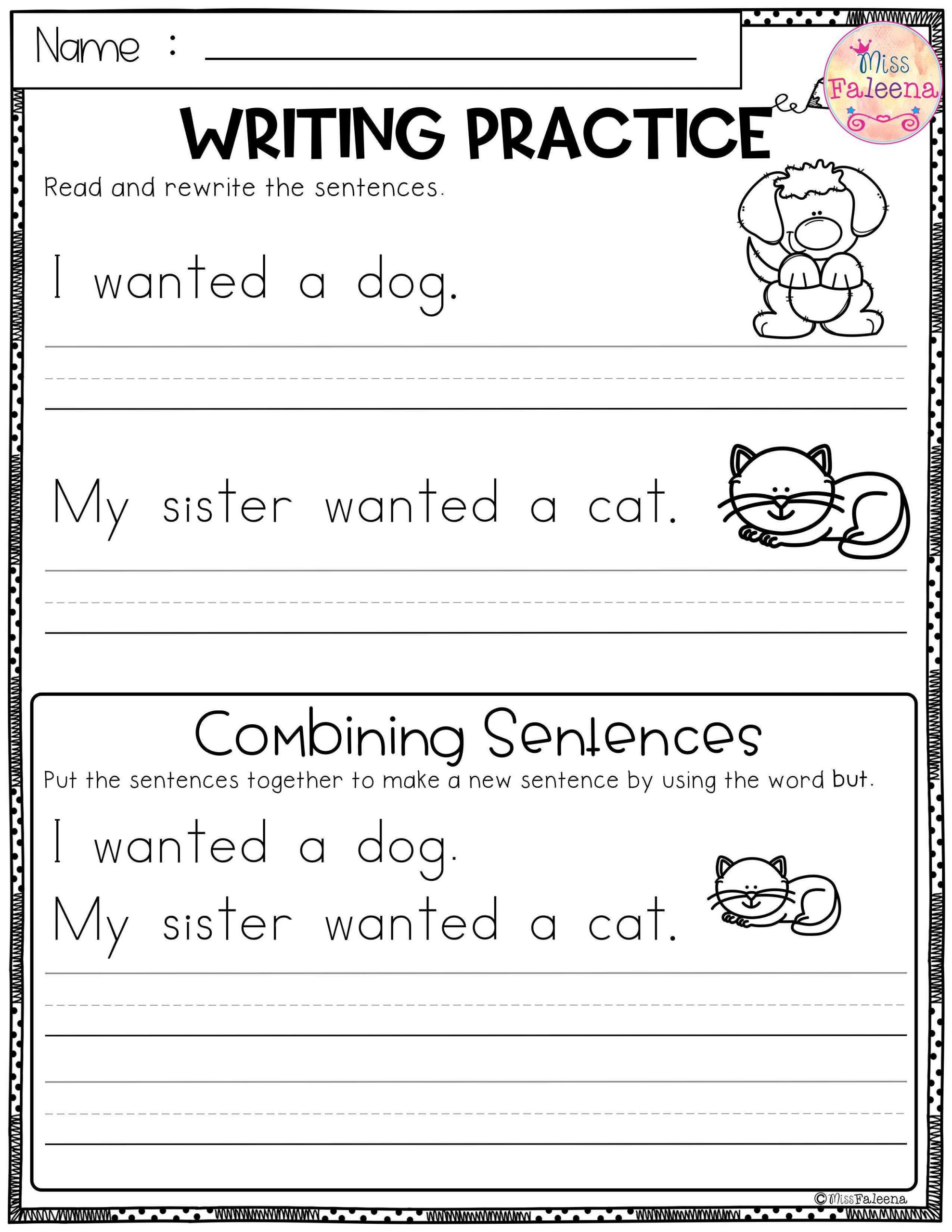 Sentence Worksheets First Grade Free Writing Practice Bining Sentences