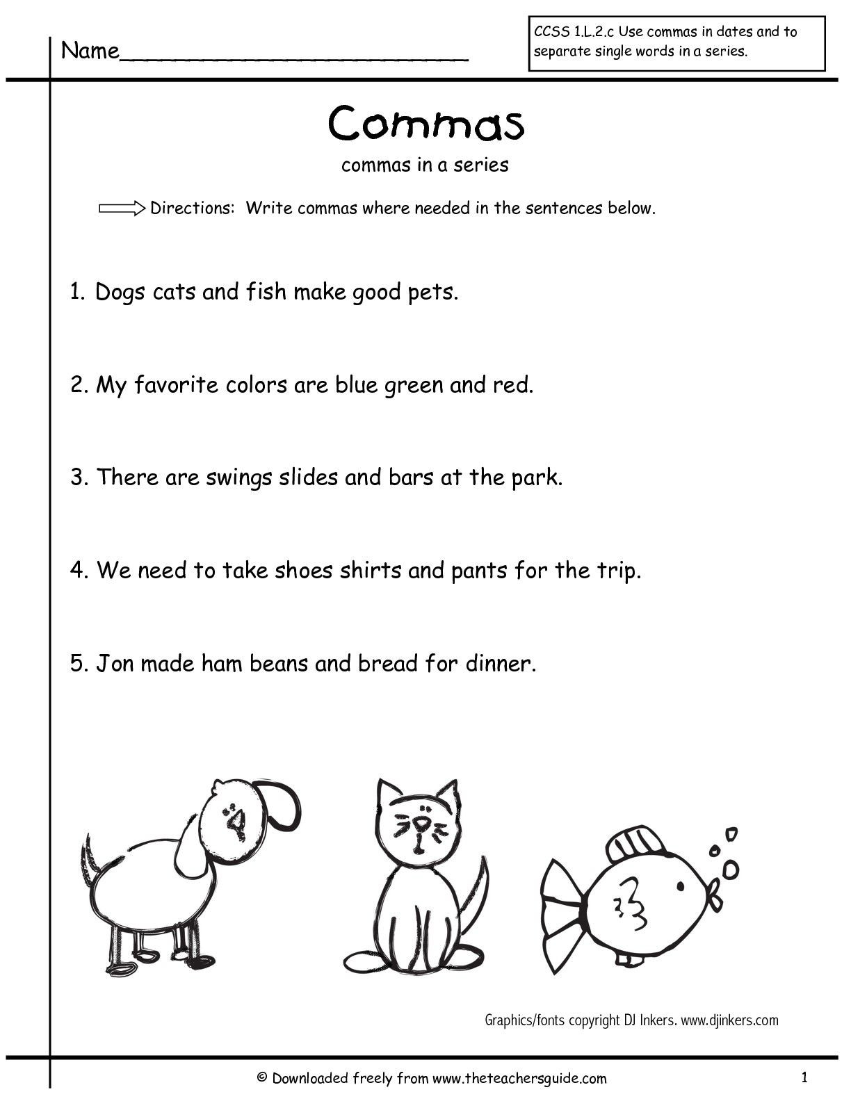 Sentence Worksheets First Grade Grammar Worksheets Mas In A Series First Grade Free