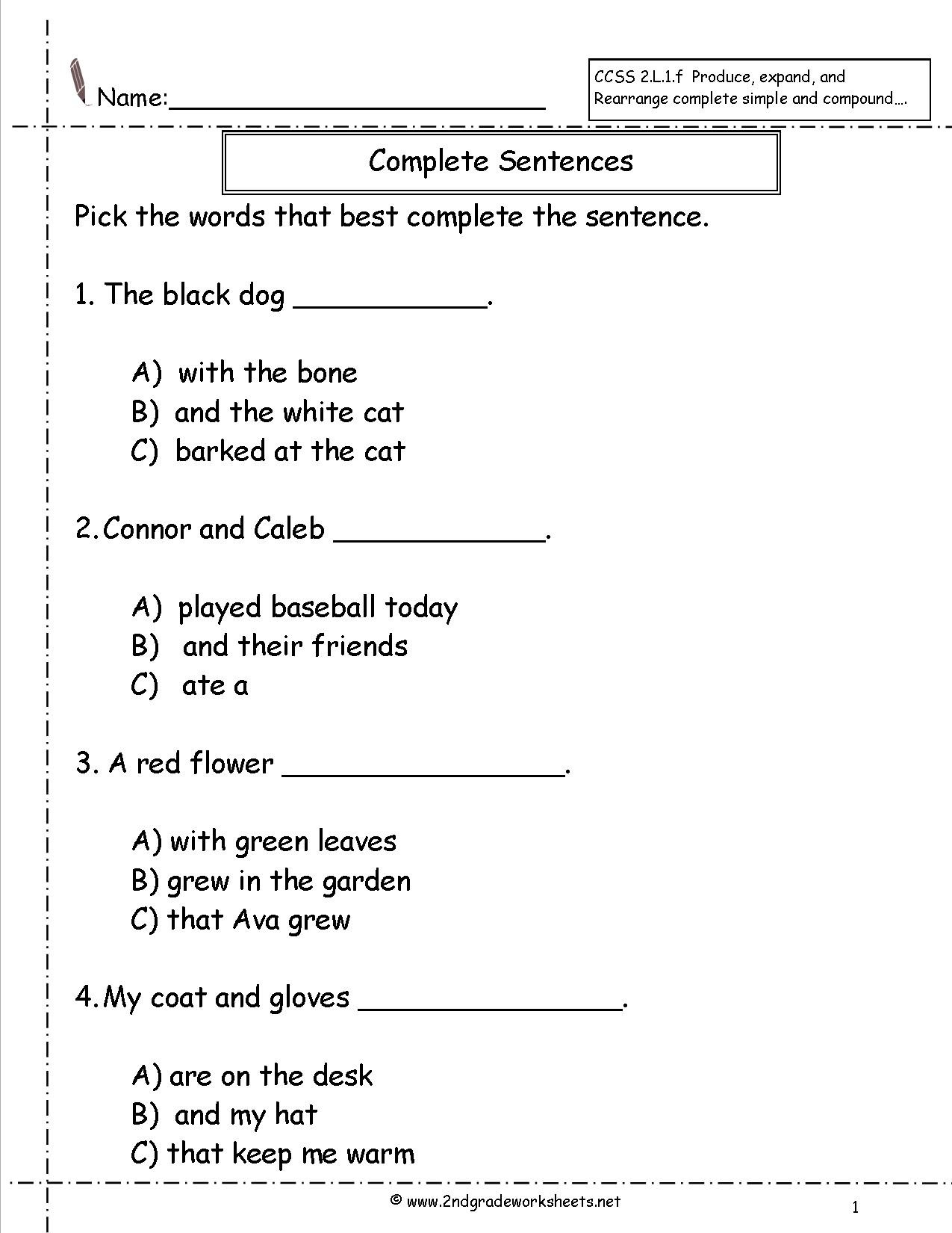 Sentence Worksheets First Grade Second Grade Sentences Worksheets Ccss English to Plete