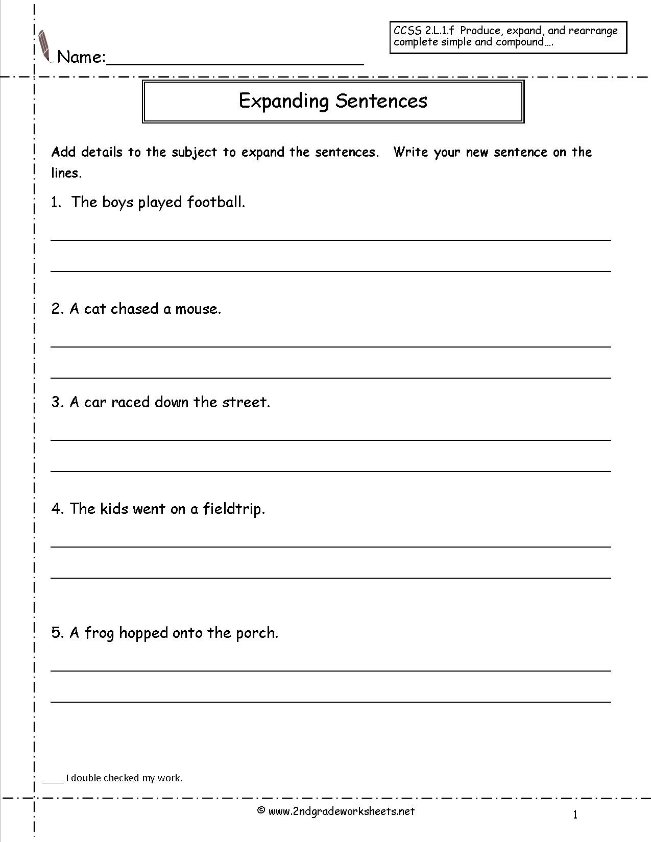 Sentence Worksheets for First Grade Copy Sentence Worksheet First Grade Printable Worksheets and