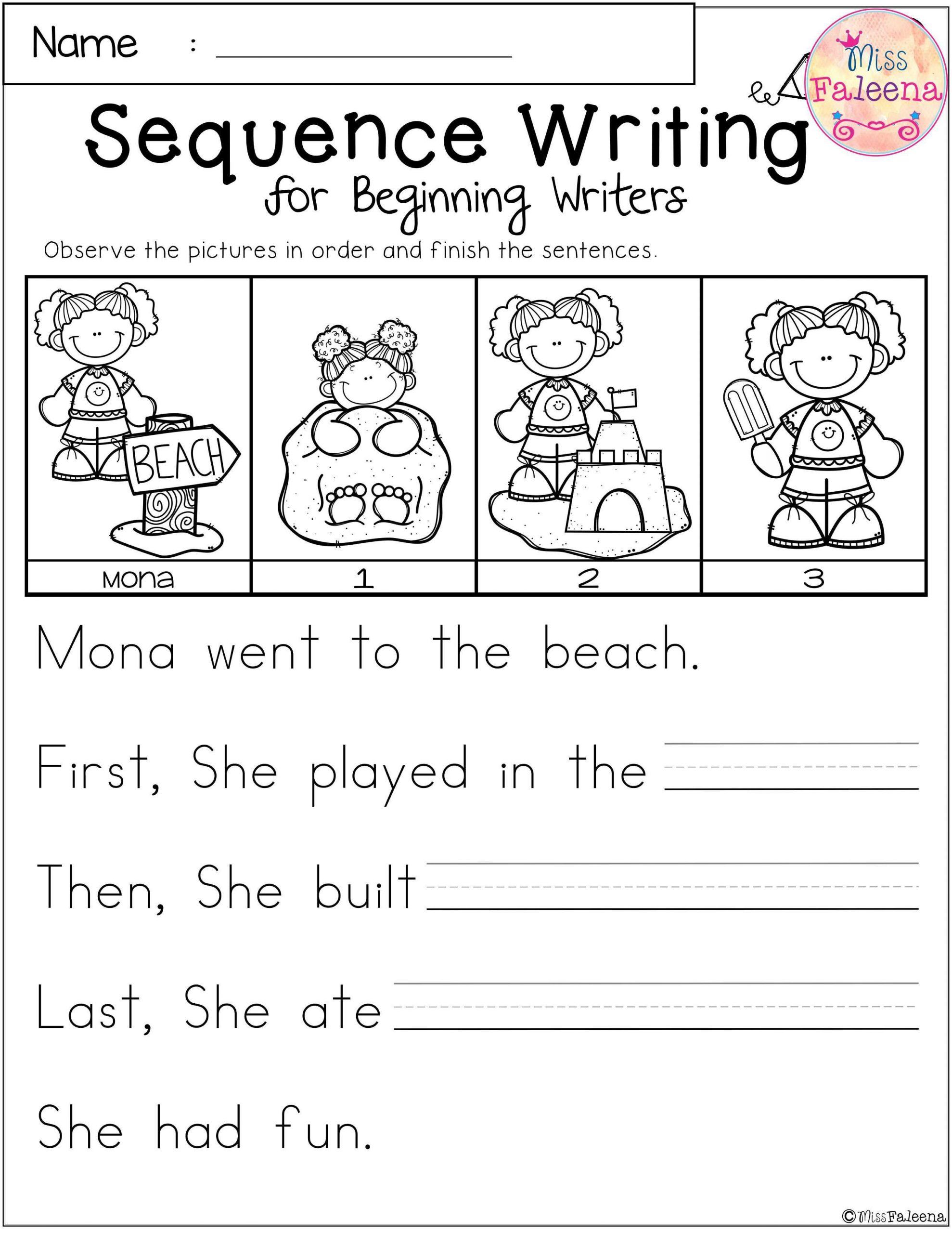 Sequencing Worksheets 2nd Grade Free Sequence Writing for Beginning Writers