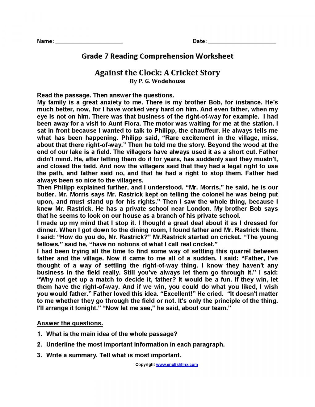 Seventh Grade Reading Comprehension Worksheets 10 Reading Prehension Grade 7 Worksheet