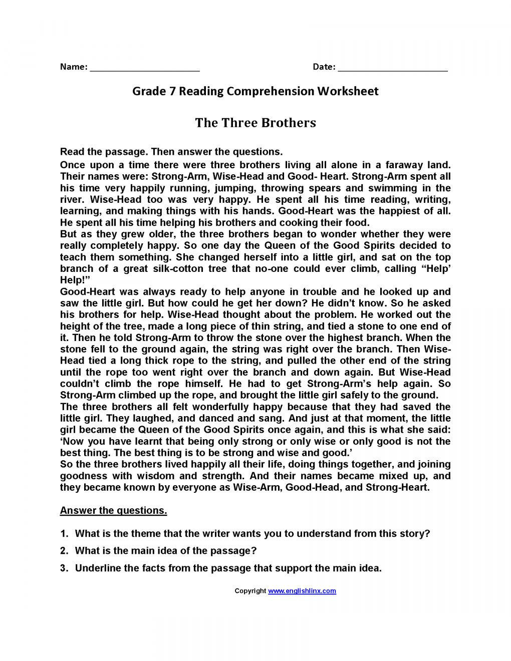 Seventh Grade Reading Comprehension Worksheets 12 7th Grade Summarizing Worksheet