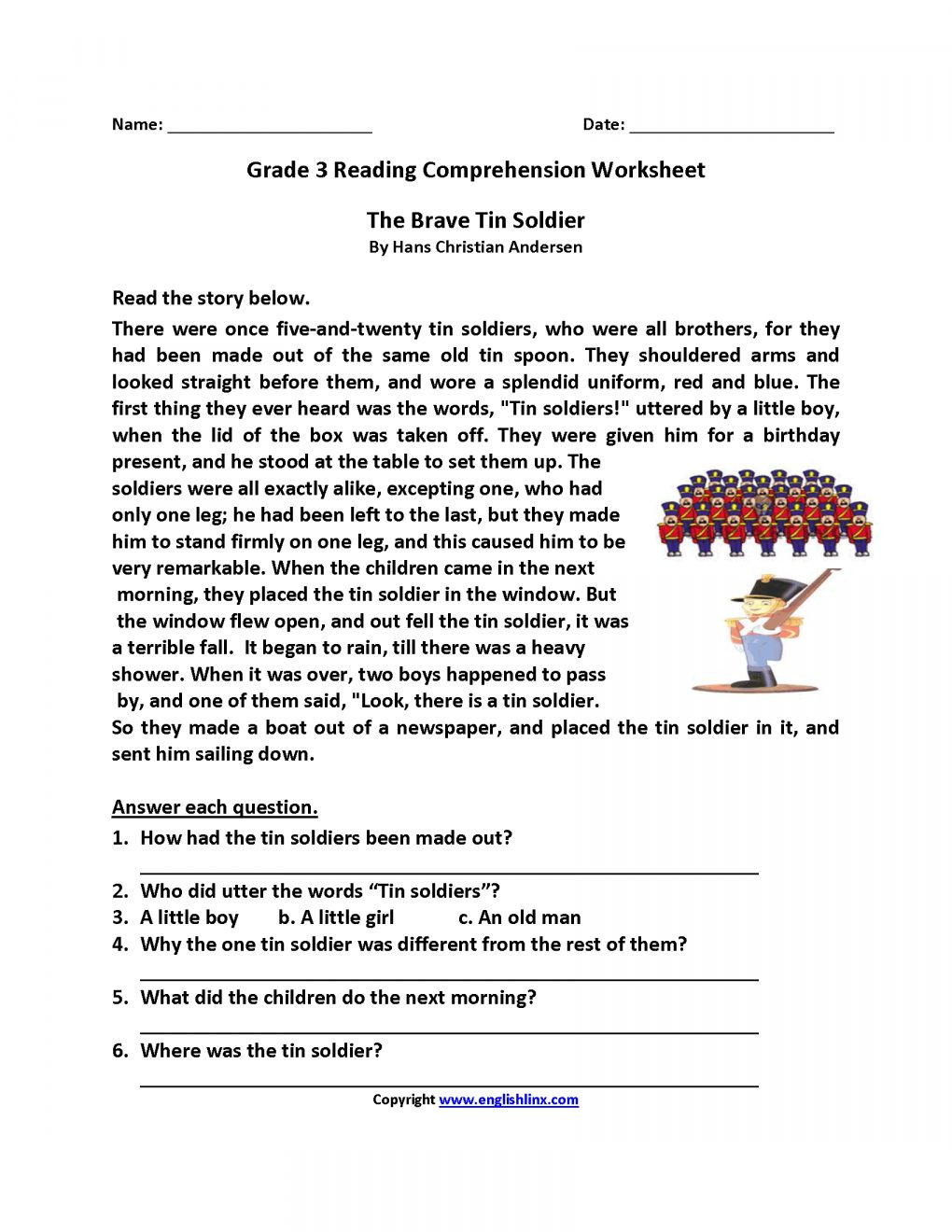 Seventh Grade Reading Comprehension Worksheets 7 3rd Grade Reading Prehension Worksheets with Questions