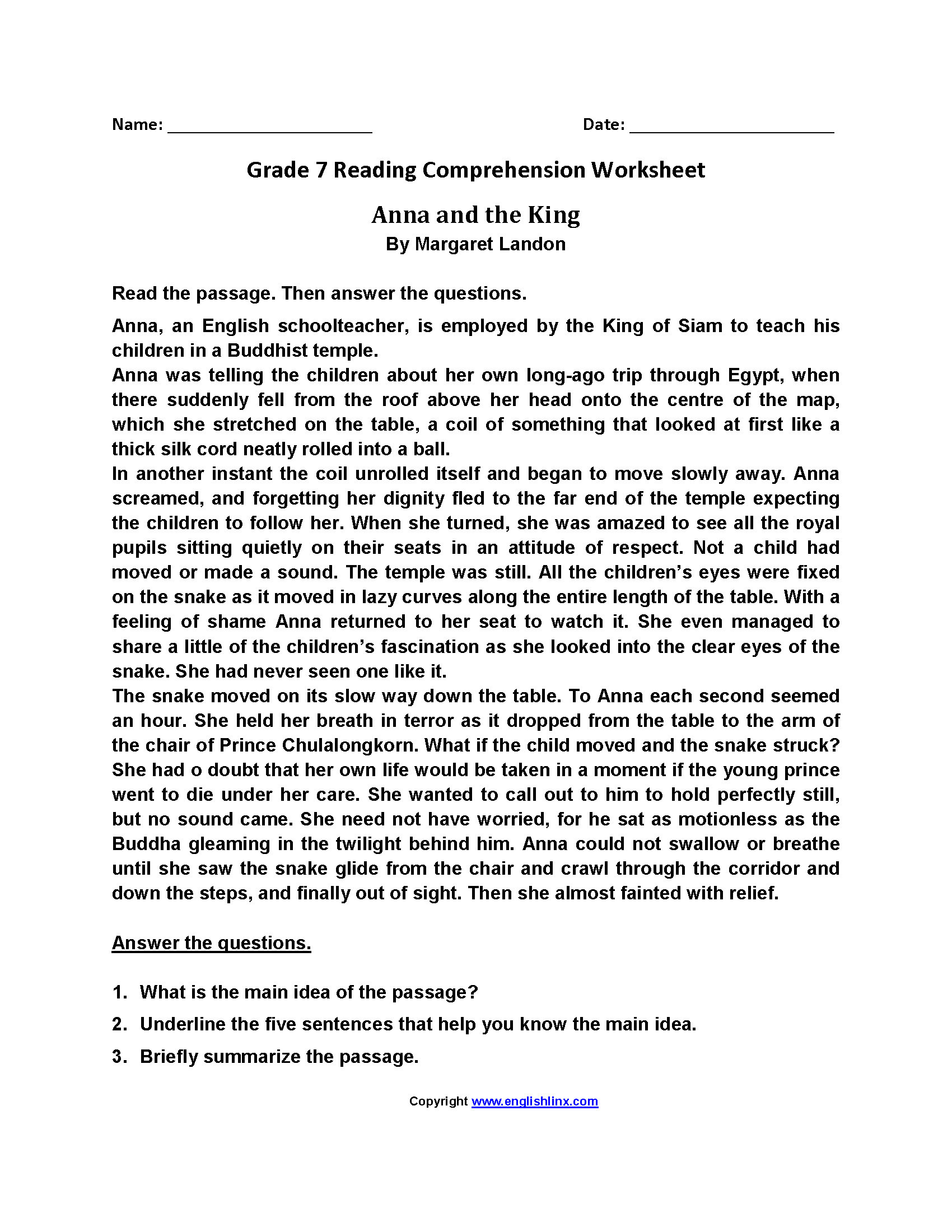 Seventh Grade Reading Comprehension Worksheets Animals Reading Prehension Worksheet 7th Grade