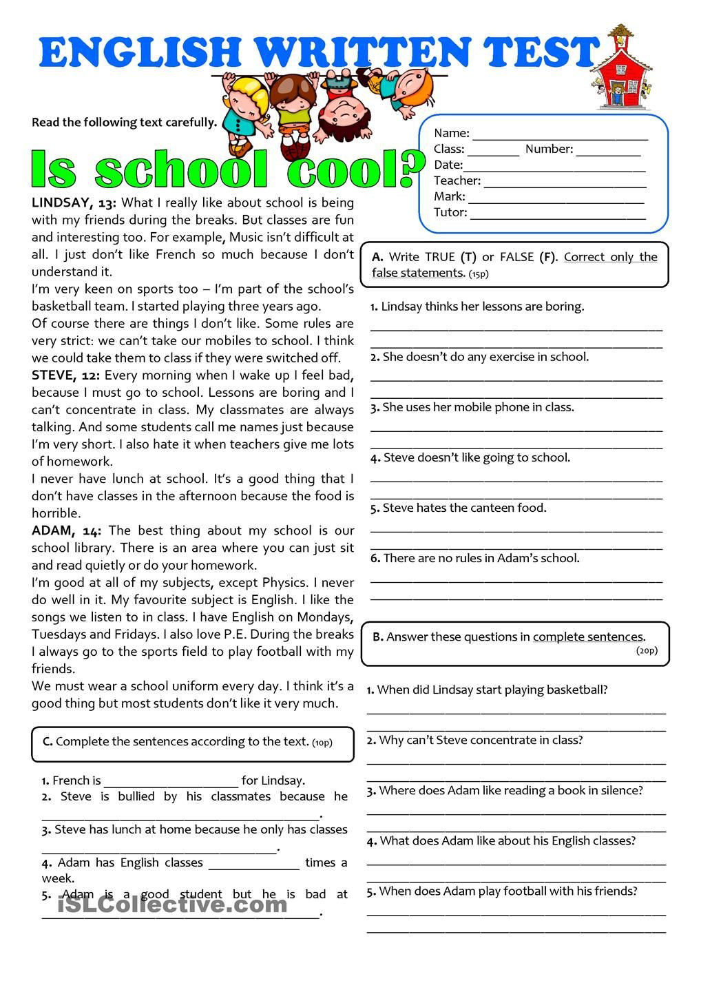 Seventh Grade Reading Comprehension Worksheets is School Cool 7th Grade Test