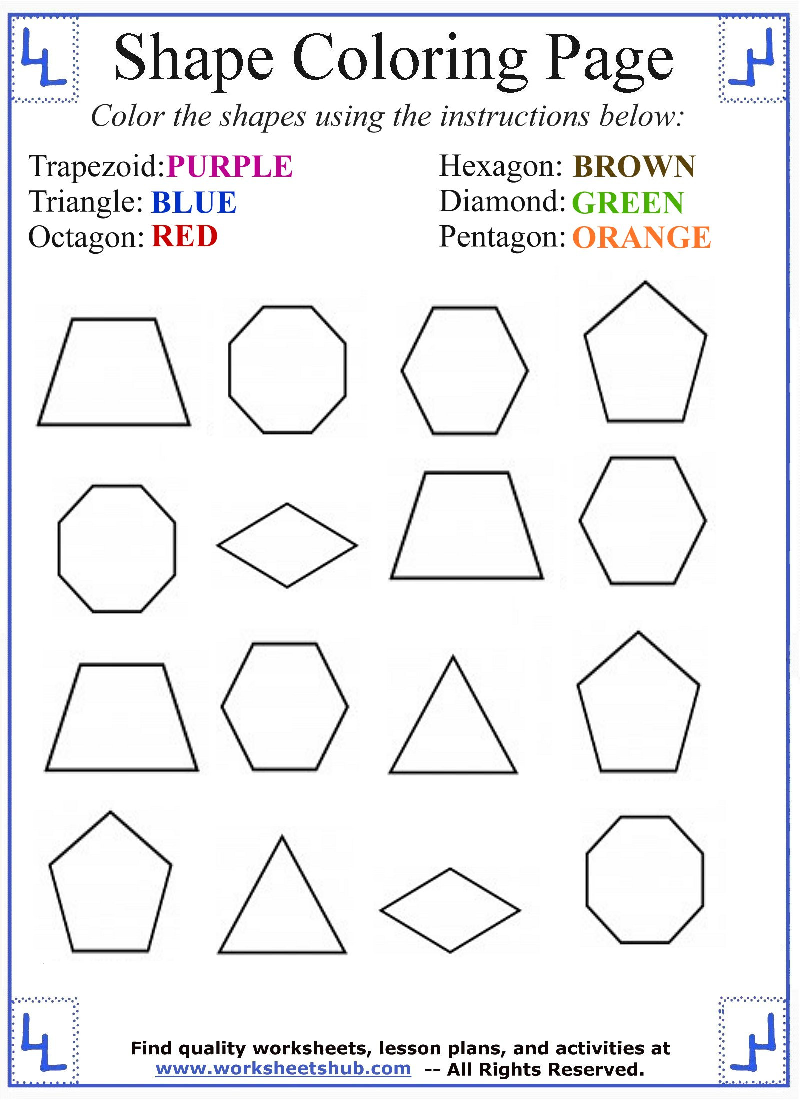 Shapes Worksheets 1st Grade Shape Coloring Basic Shapes Business Math Ebook Easy Games