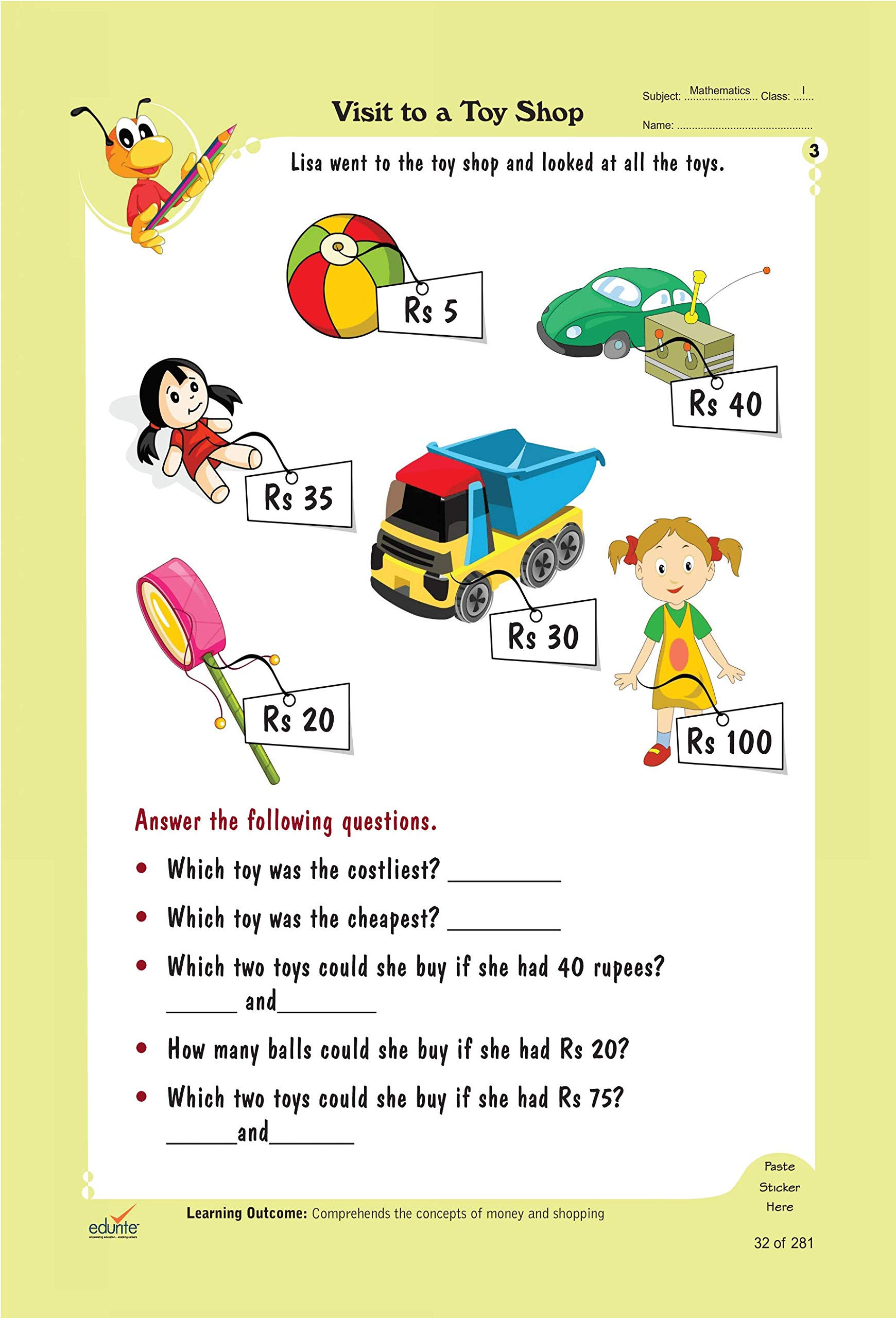 Shopping Math Worksheet Buy Edurite Bo Worksheets for Class 1 Mathematics