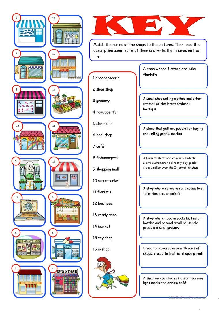 Shopping Math Worksheet Shopping Reading&matching Worksheet Free Esl Printable